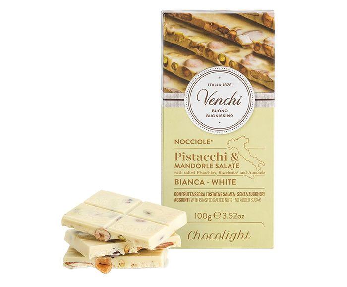 Barra de Chocolate Branco com Pistache Amêndoas e Avelãs Salgadas sem Açúcar - 100G | Westwing.com.br