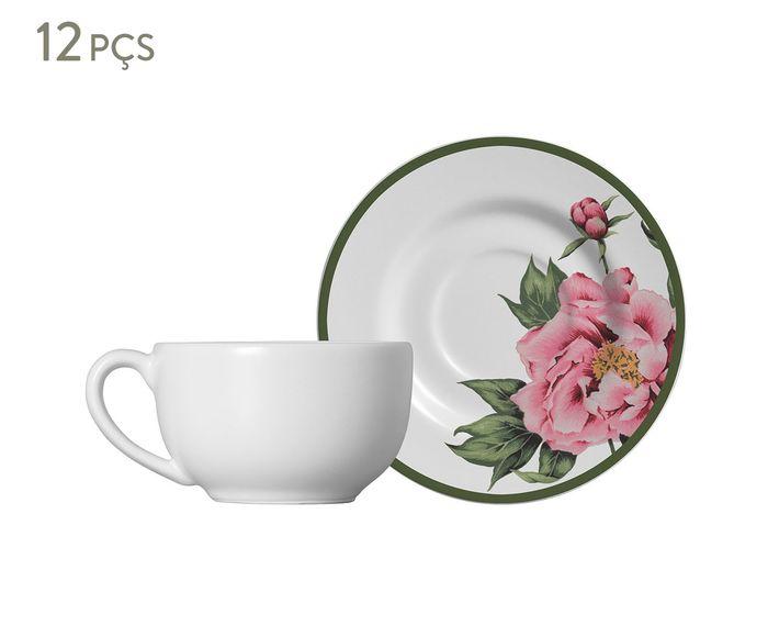 Jogo de Xícaras para Chá com Pires Peony Rose - 300ml | Westwing.com.br