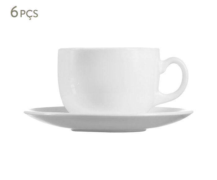 Jogo de Xícaras para Chá com Pires Evolution Branco - 220ml | Westwing.com.br
