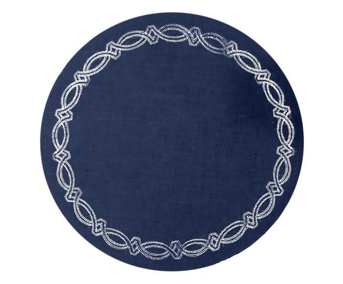 Lugar Americano Truly Azul com Bordado Branco - 40cm   Westwing.com.br