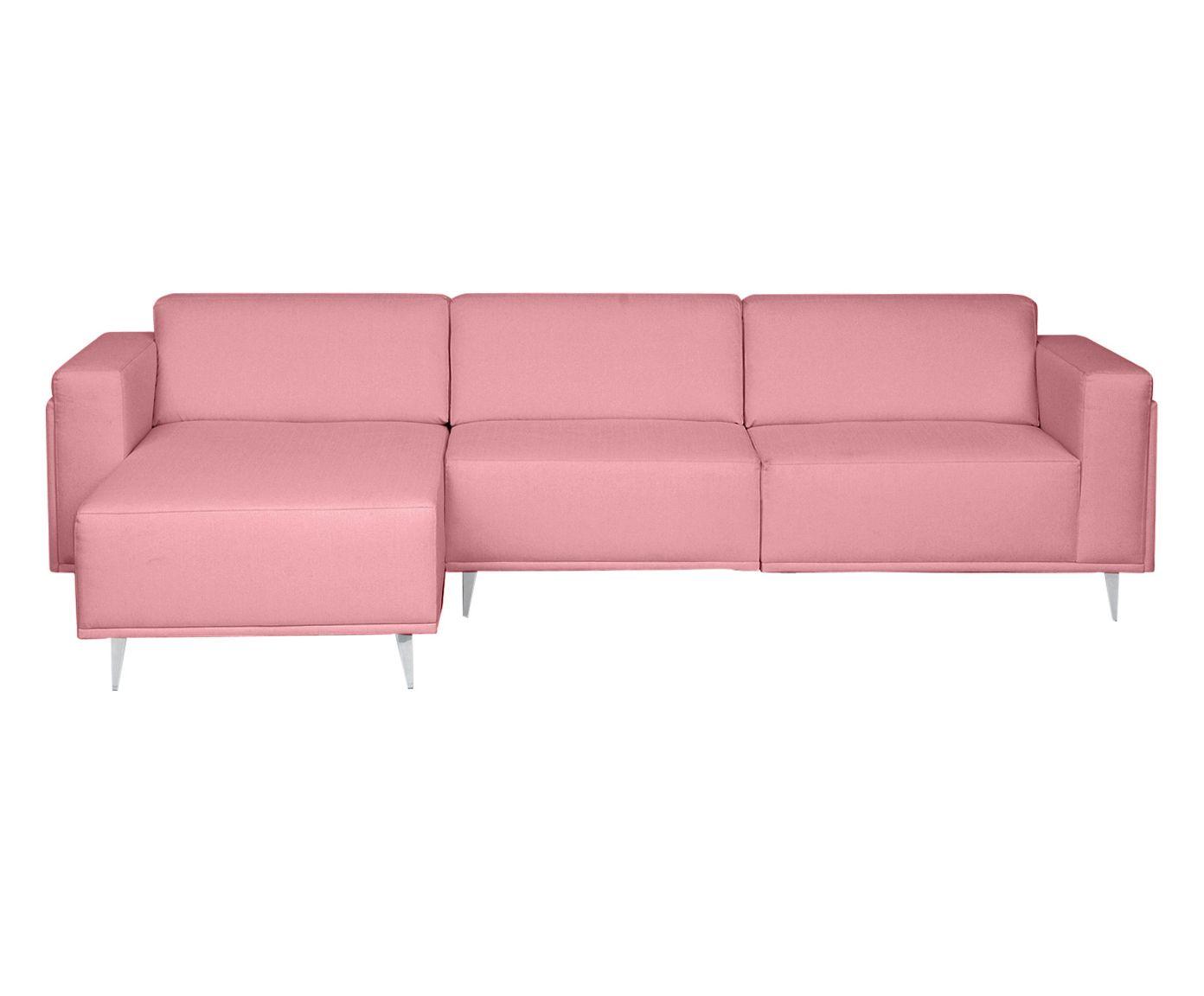 Sofá Modular com Chaise Direita Antonio Rosa Flamingo - 280cm | Westwing.com.br