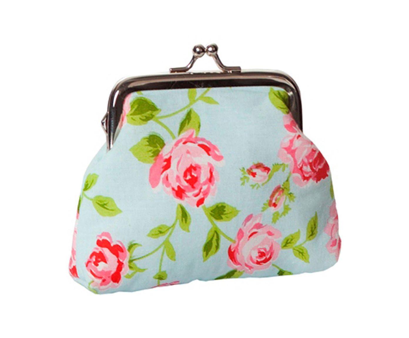 Bolsa para Moedas Romantic Flowers Azul - 11X11X3cm   Westwing.com.br