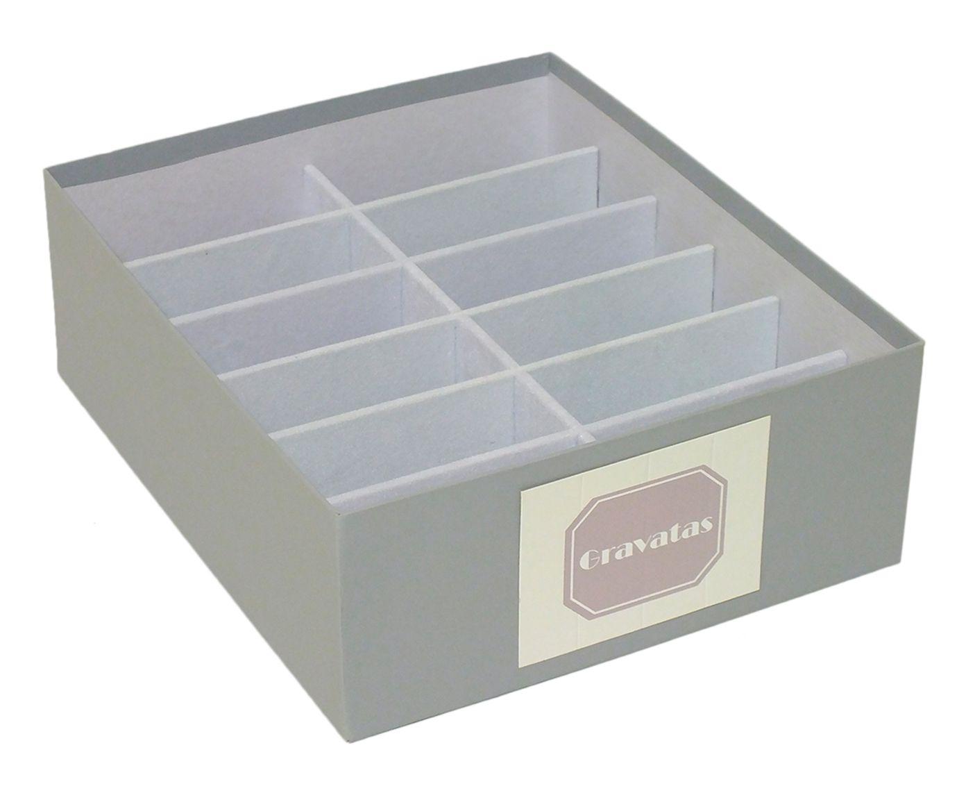 Caixa Organizadora para Gravatas Tag New Solid Cinza - 30X10X25cm | Westwing.com.br