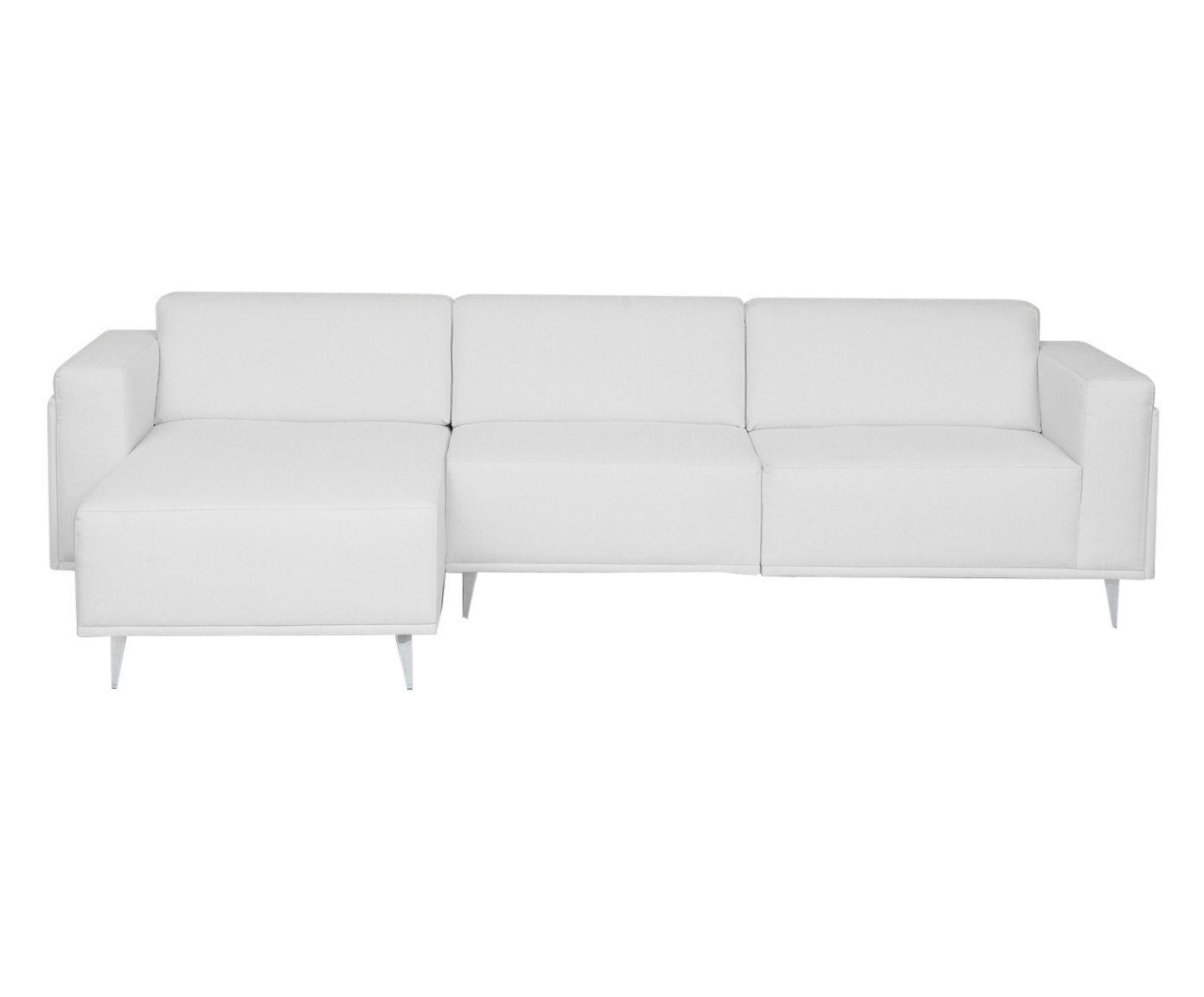 Sofá Modular em Linho com Chaise Direita Antonio Cotton Cru - 280X79X85cm | Westwing.com.br