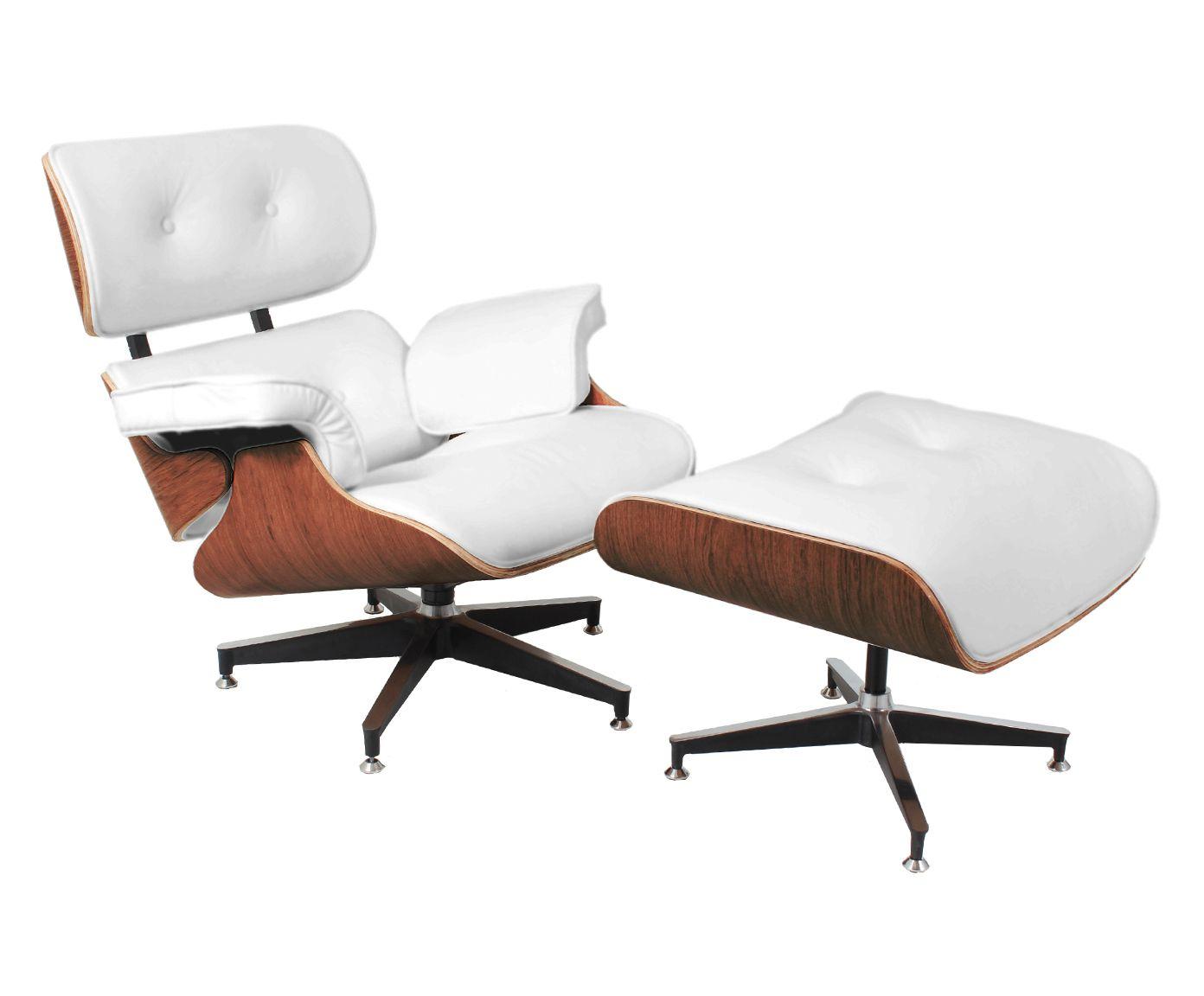 Poltrona com Pufe em Couro Ecológico Lounge Chair - Branca e Jacarandá | Westwing.com.br