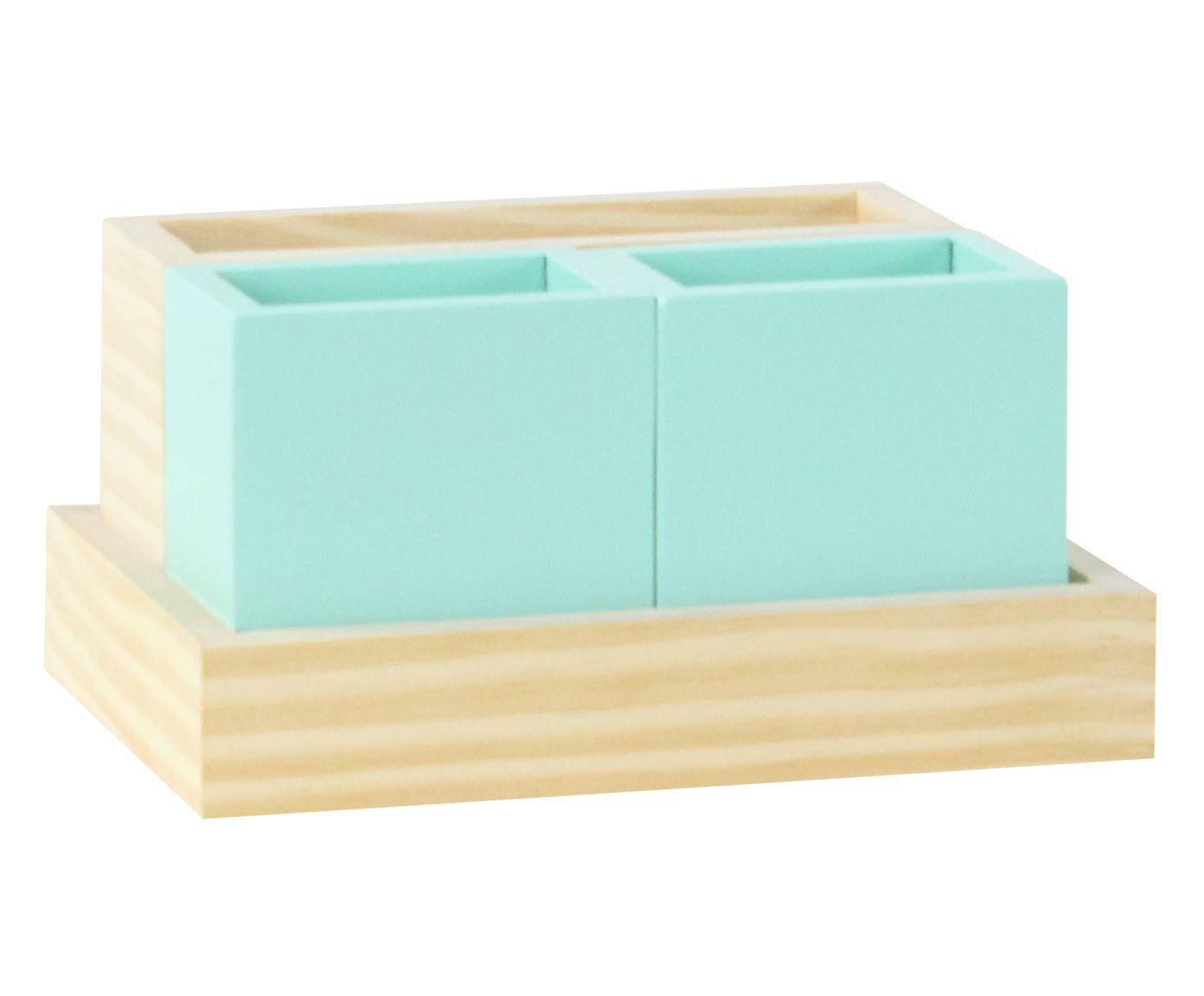 Jogo de Organizadores de Mesa Britt Verde Celadon - 22X12X15cm | Westwing.com.br