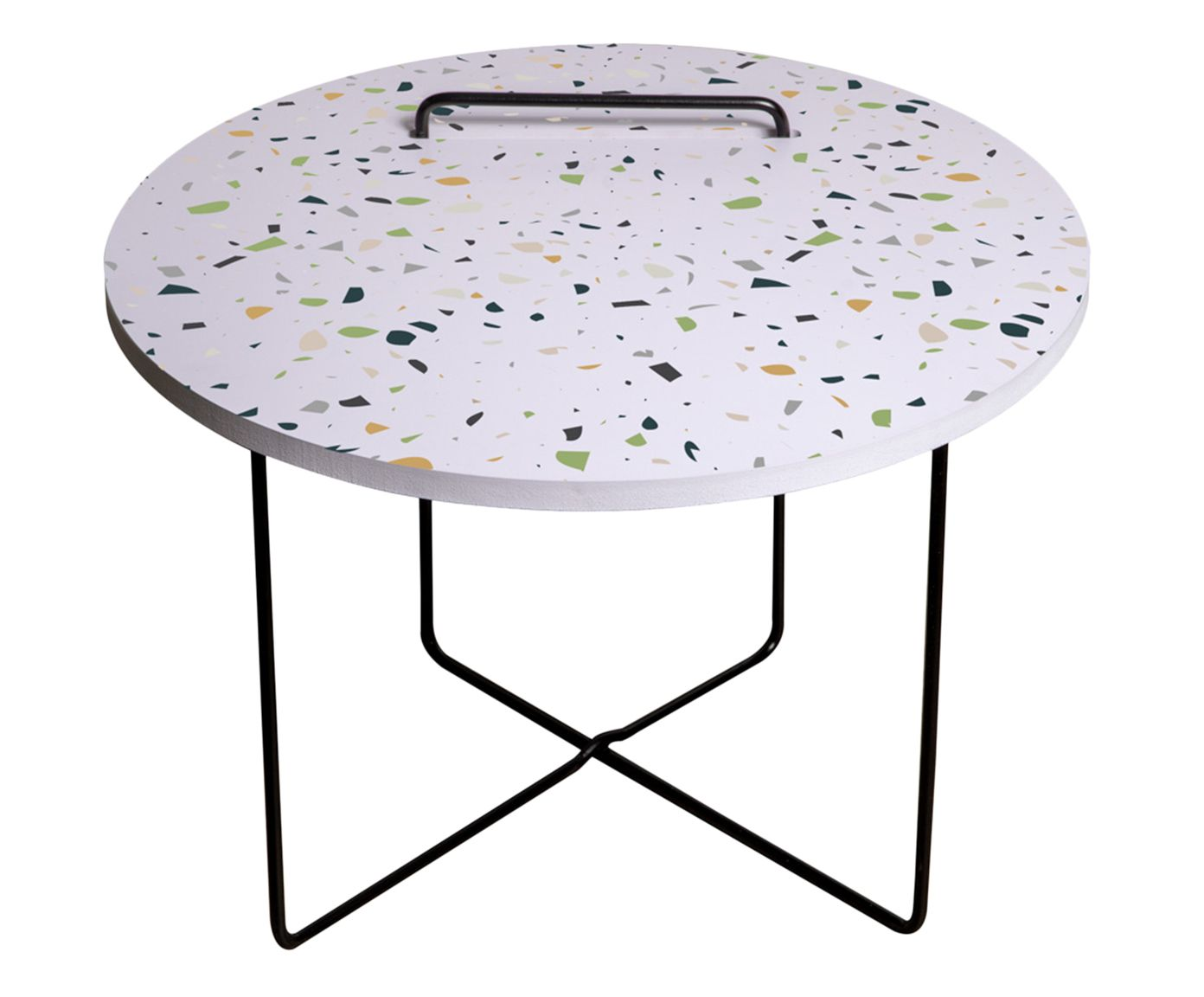 Mesa Lateral Tow Terrazzo Branca - 42X63cm   Westwing.com.br