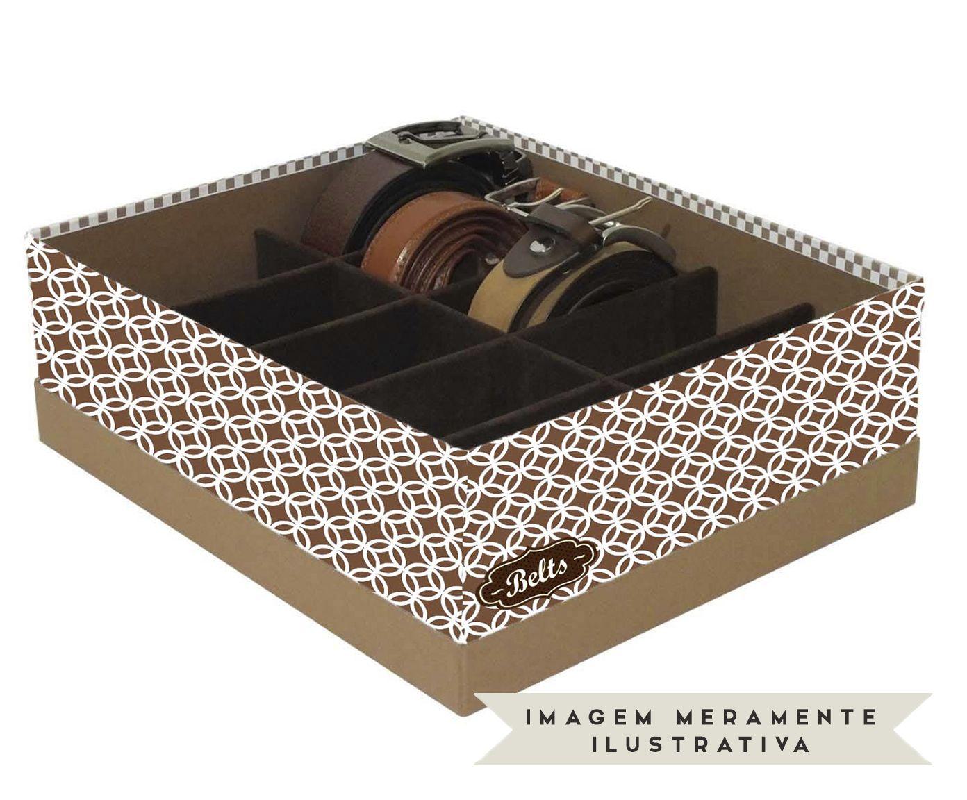 Caixa Organizadora de Cintos Eve Círculos Marrom e Branca - 25X11X30cm | Westwing.com.br