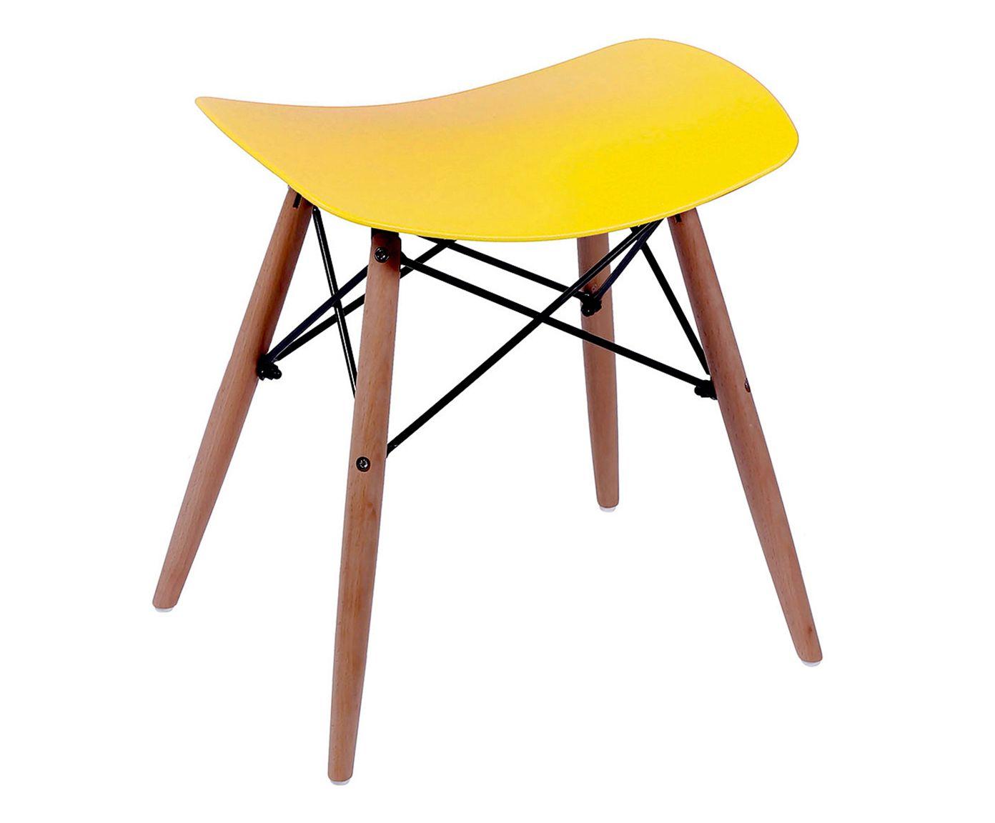 Banquinho Eames Wood Amarelo - 53X46X47cm | Westwing.com.br