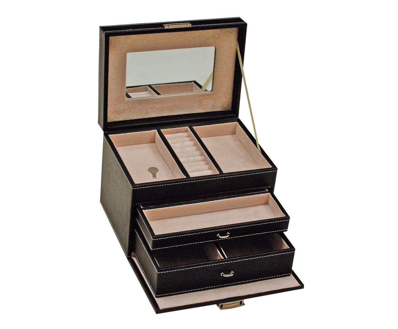 Porta-Joias Soft Logrê Preto - 23,5X16,5cm | Westwing.com.br