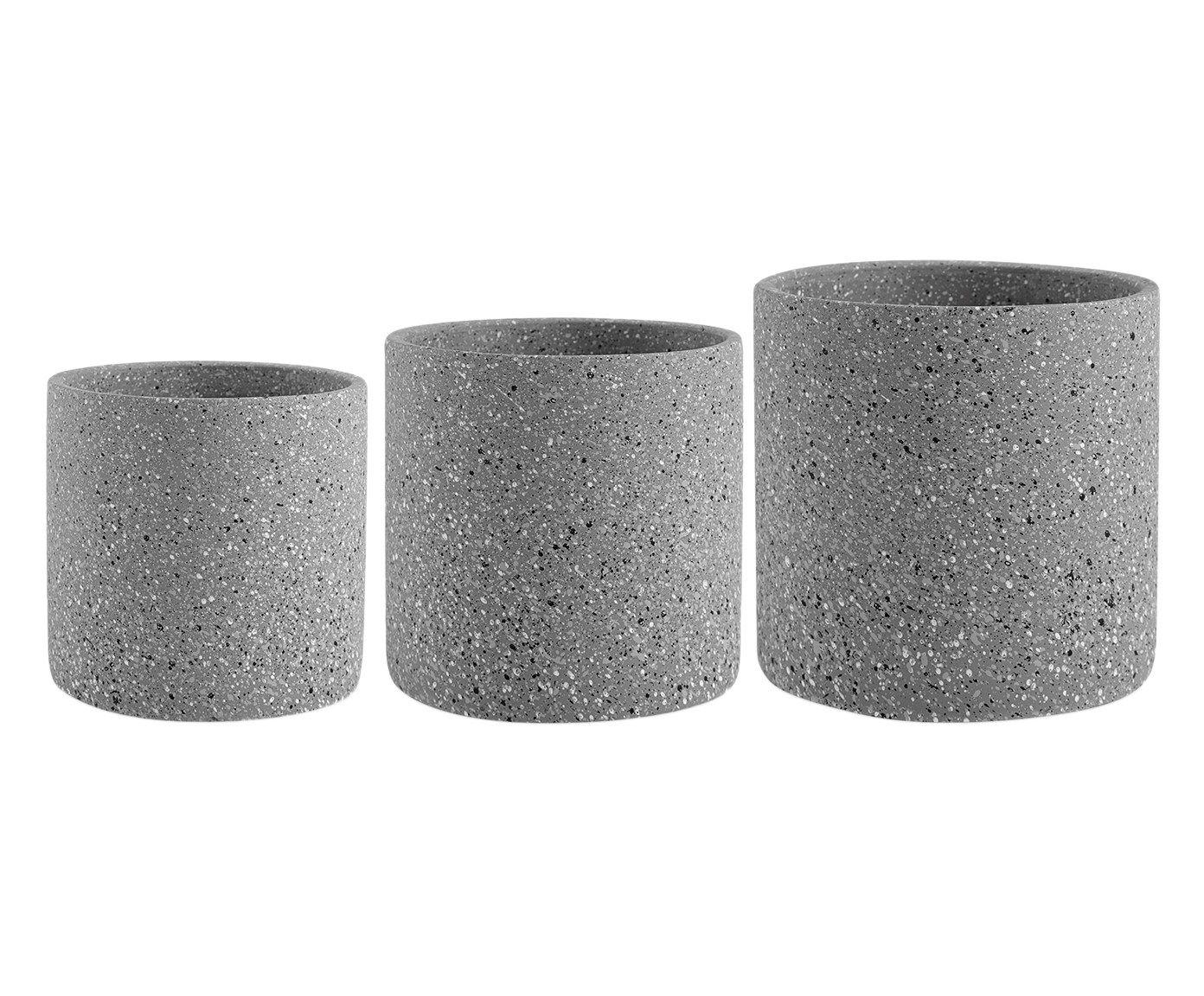 Jogo de Cachepots Stone Cinza Escuro | Westwing.com.br