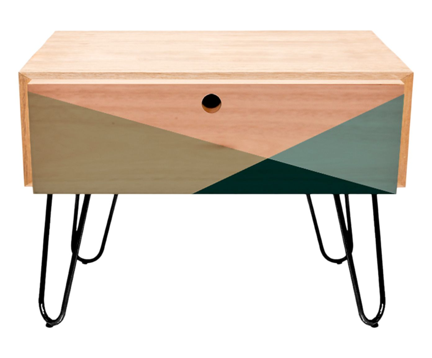 Mesa Lateral Wood Geometric Verde - 50,5X51X44cm | Westwing.com.br