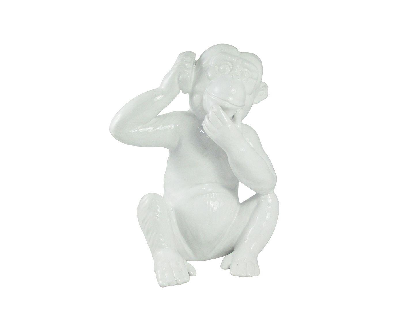 Adorno Macaco com Celular Branco - 10X23X10cm | Westwing.com.br