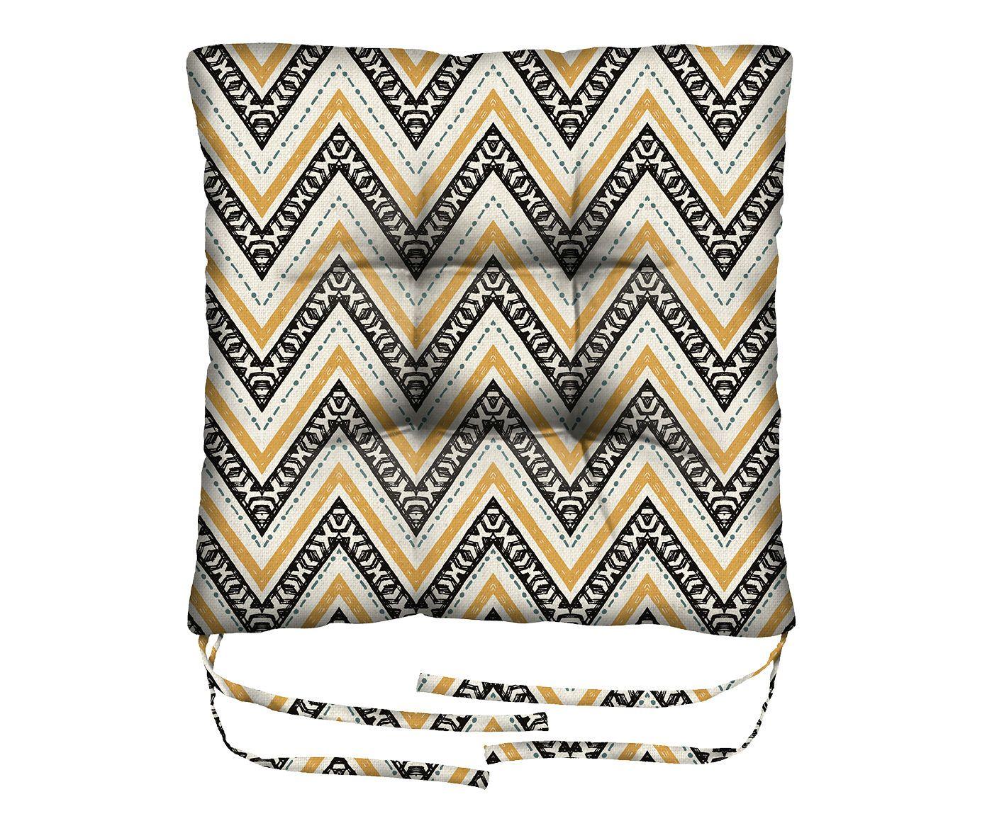 Assento de Cadeira em Linho Misto Dorado - 45X45cm | Westwing.com.br