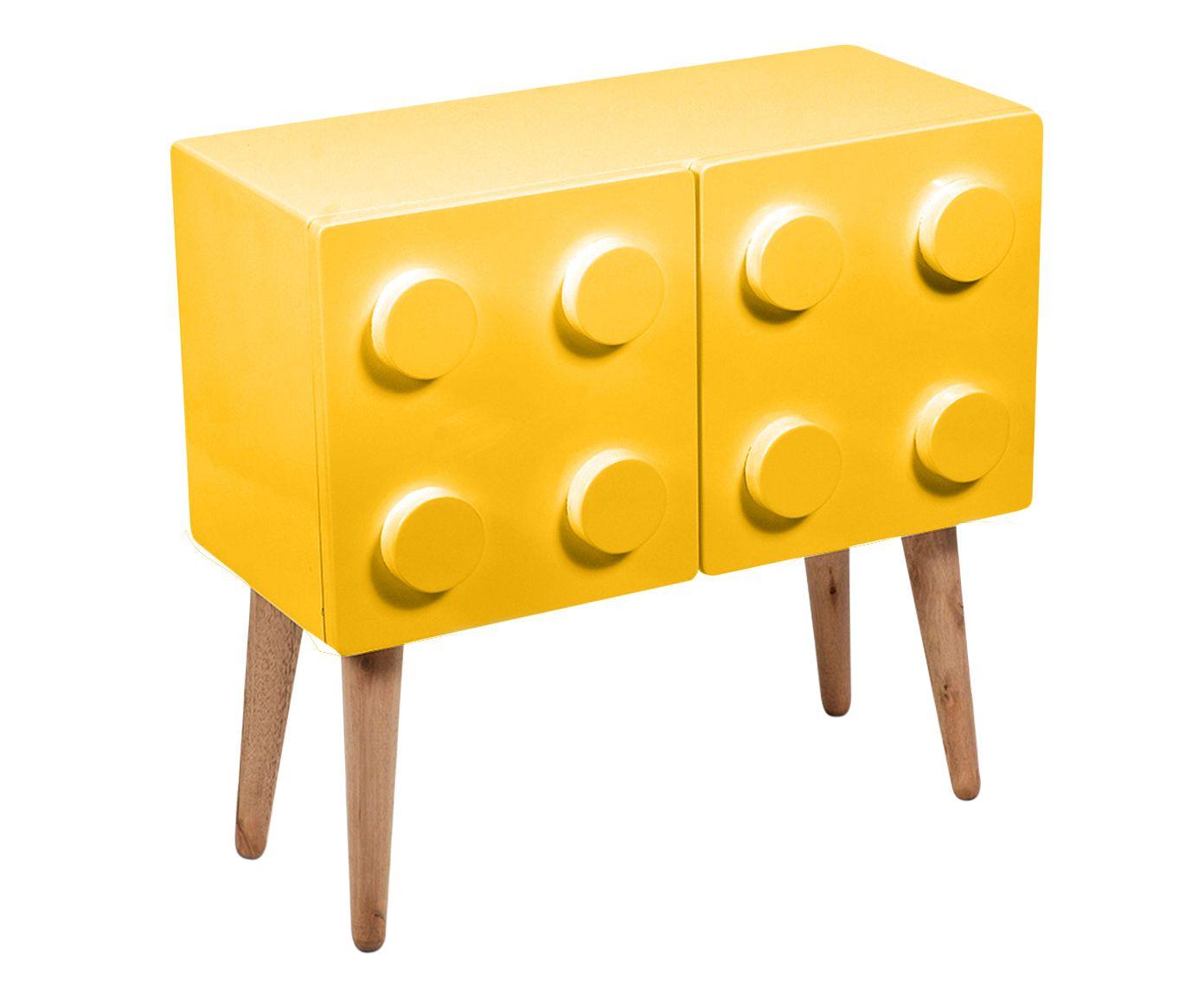 Mesa Lateral Lego Amarela - 55X55X27cm | Westwing.com.br