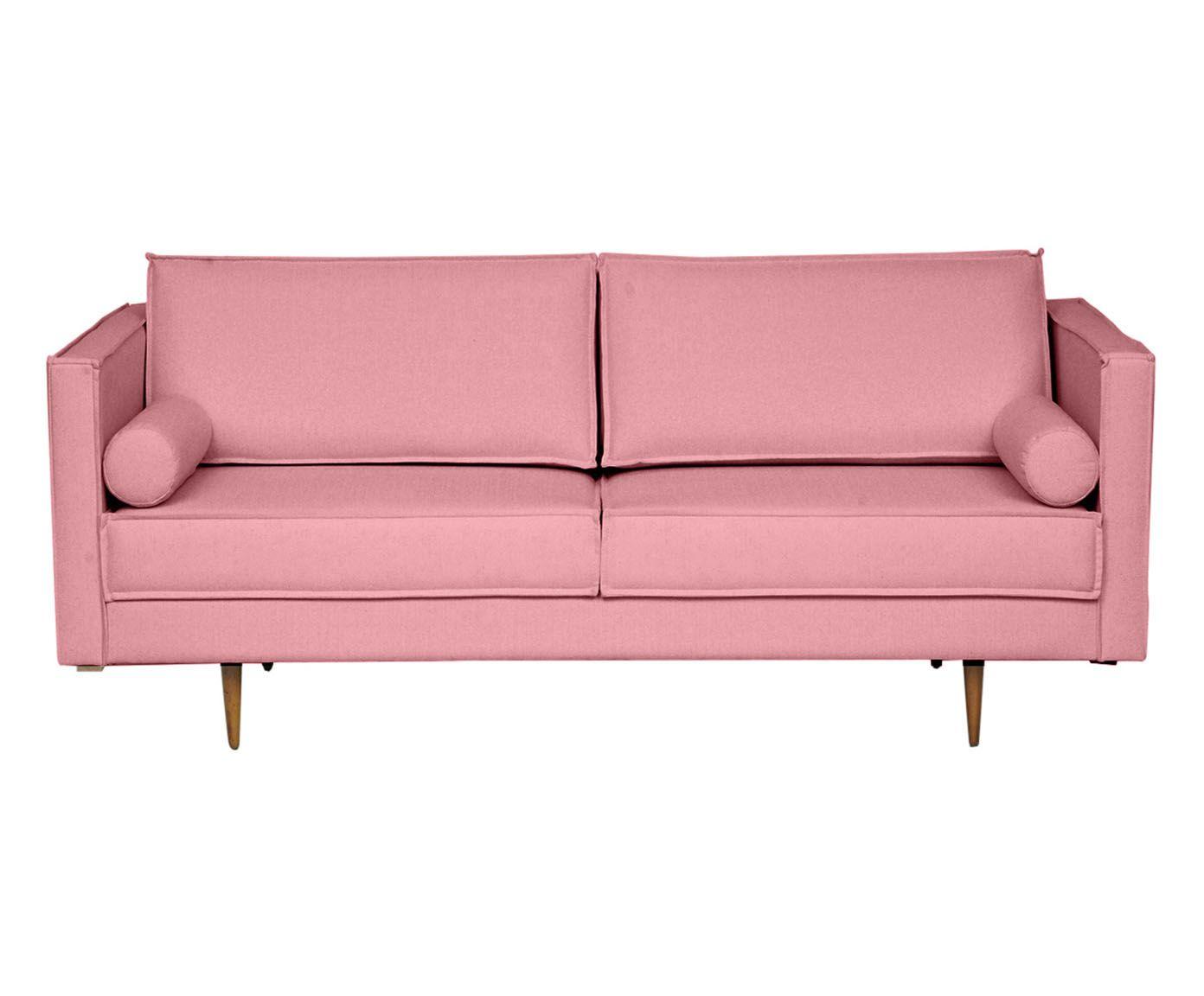Sofá em Linho Audrey Rosa Flamingo - 180X85X90cm | Westwing.com.br
