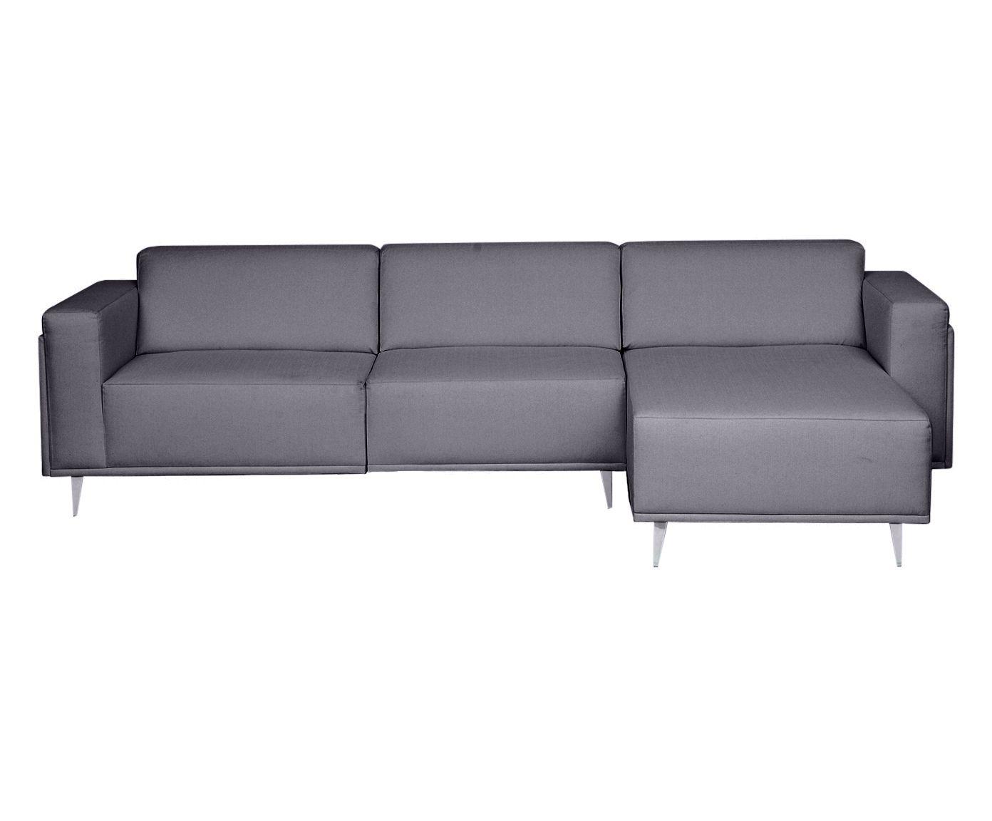 Sofá Modular com Chaise Esquerda Antonio Cinza Cimento - 250cm | Westwing.com.br