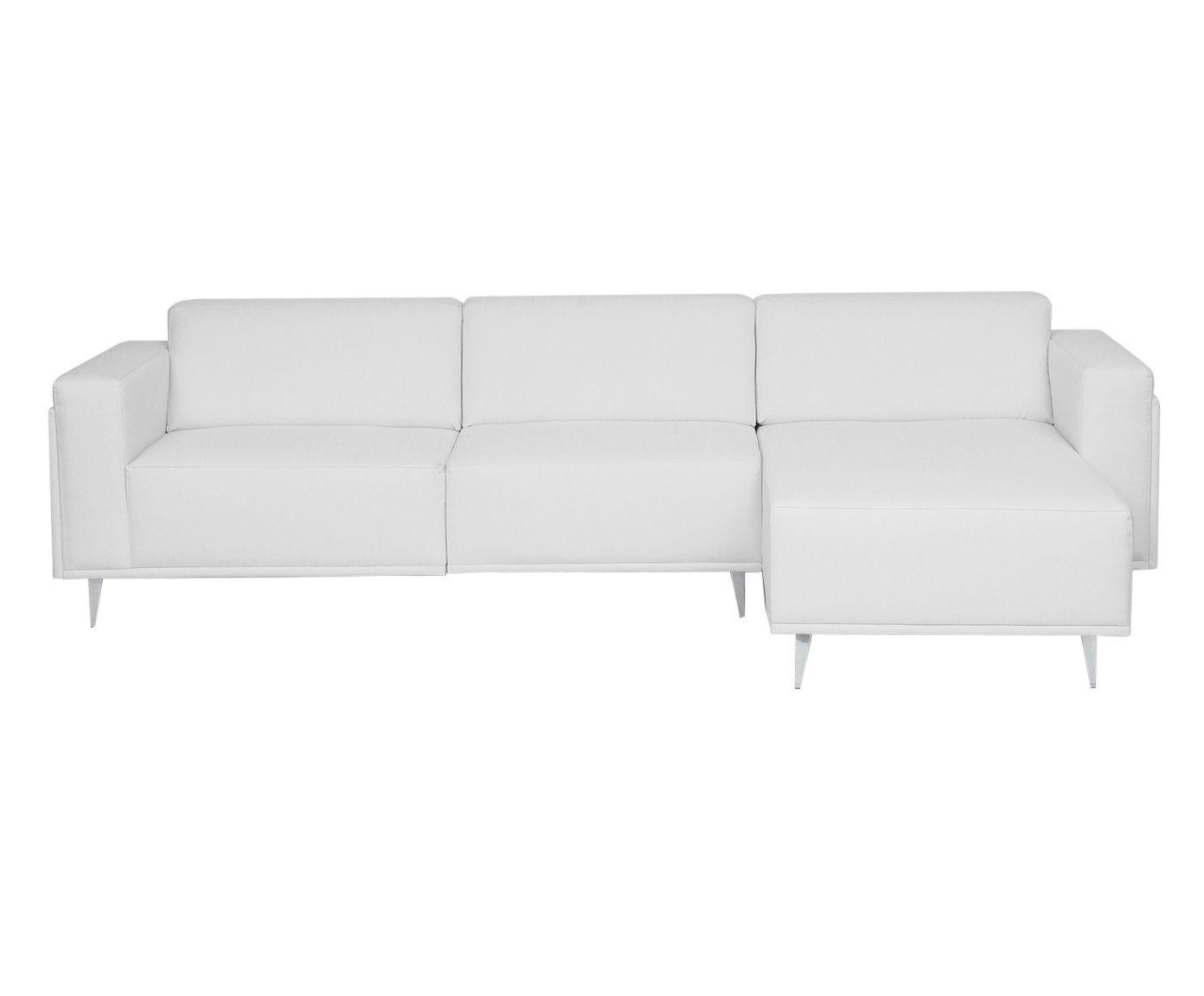 Sofá Modular em Linho com Chaise Esquerda Antonio Cotton Cru - 250cm   Westwing.com.br
