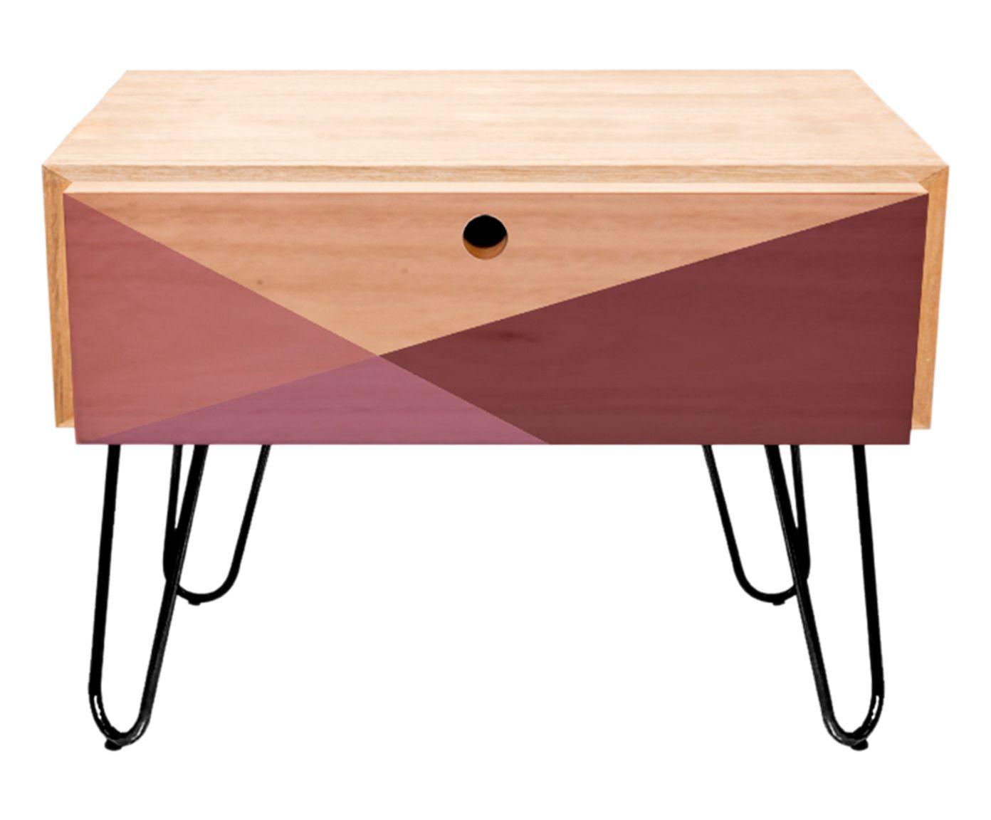 Mesa Lateral Wood Geometric Rosa - 50,5X51X44cm | Westwing.com.br