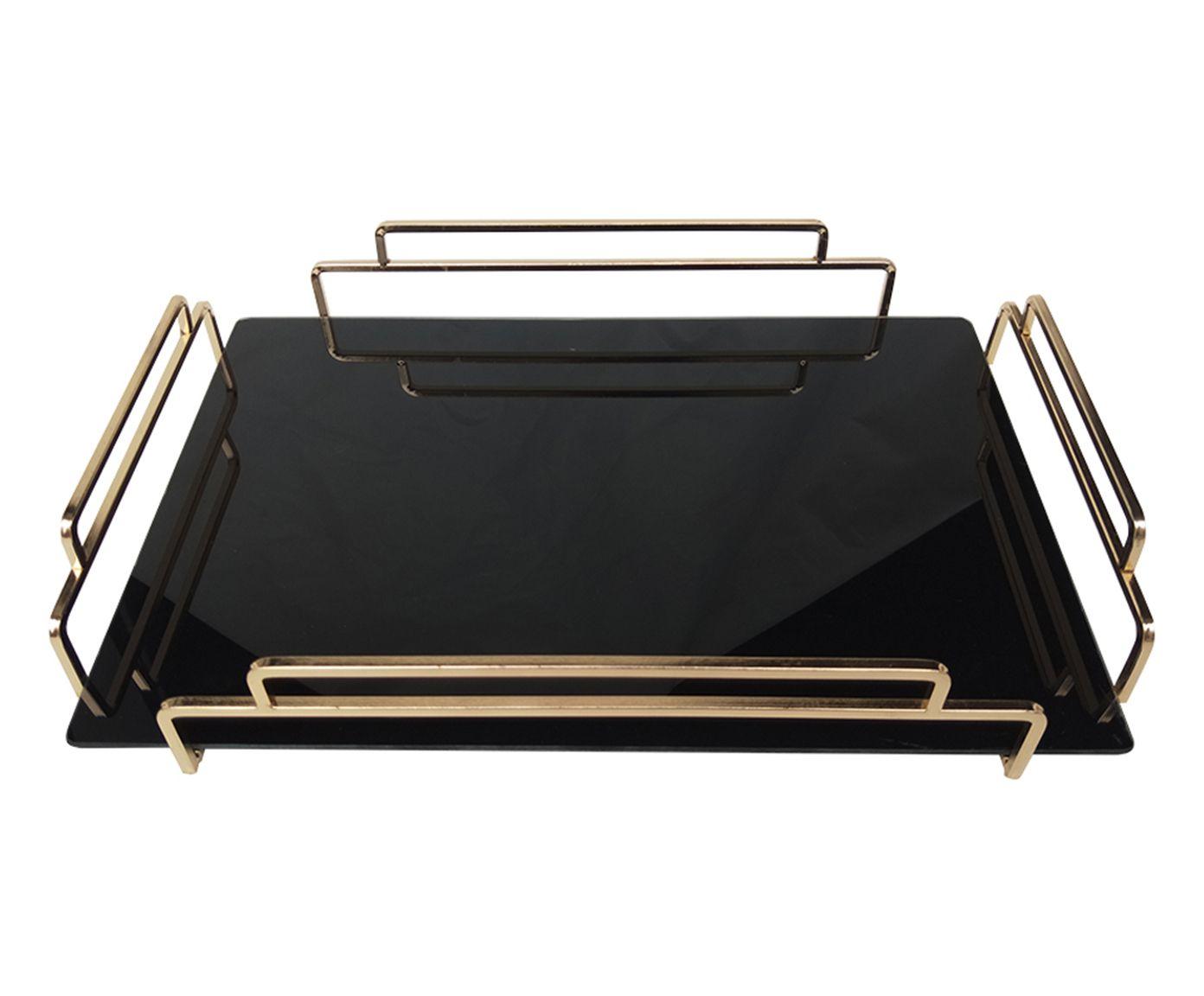 Bandeja Decorativa Adele Preta e Dourada - 46X6X31cm | Westwing.com.br