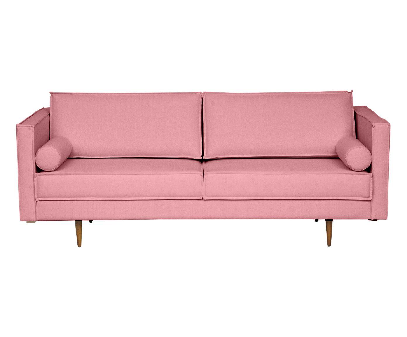 Sofá em Linho Audrey Rosa Flamingo - 210X85X90cm   Westwing.com.br