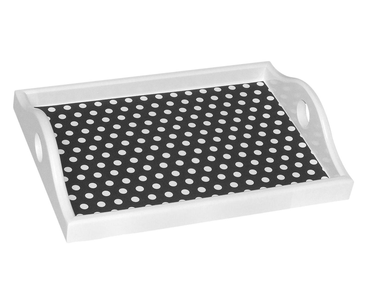 Bandeja Dots Preta e Branca - 26X5,5X19cm | Westwing.com.br