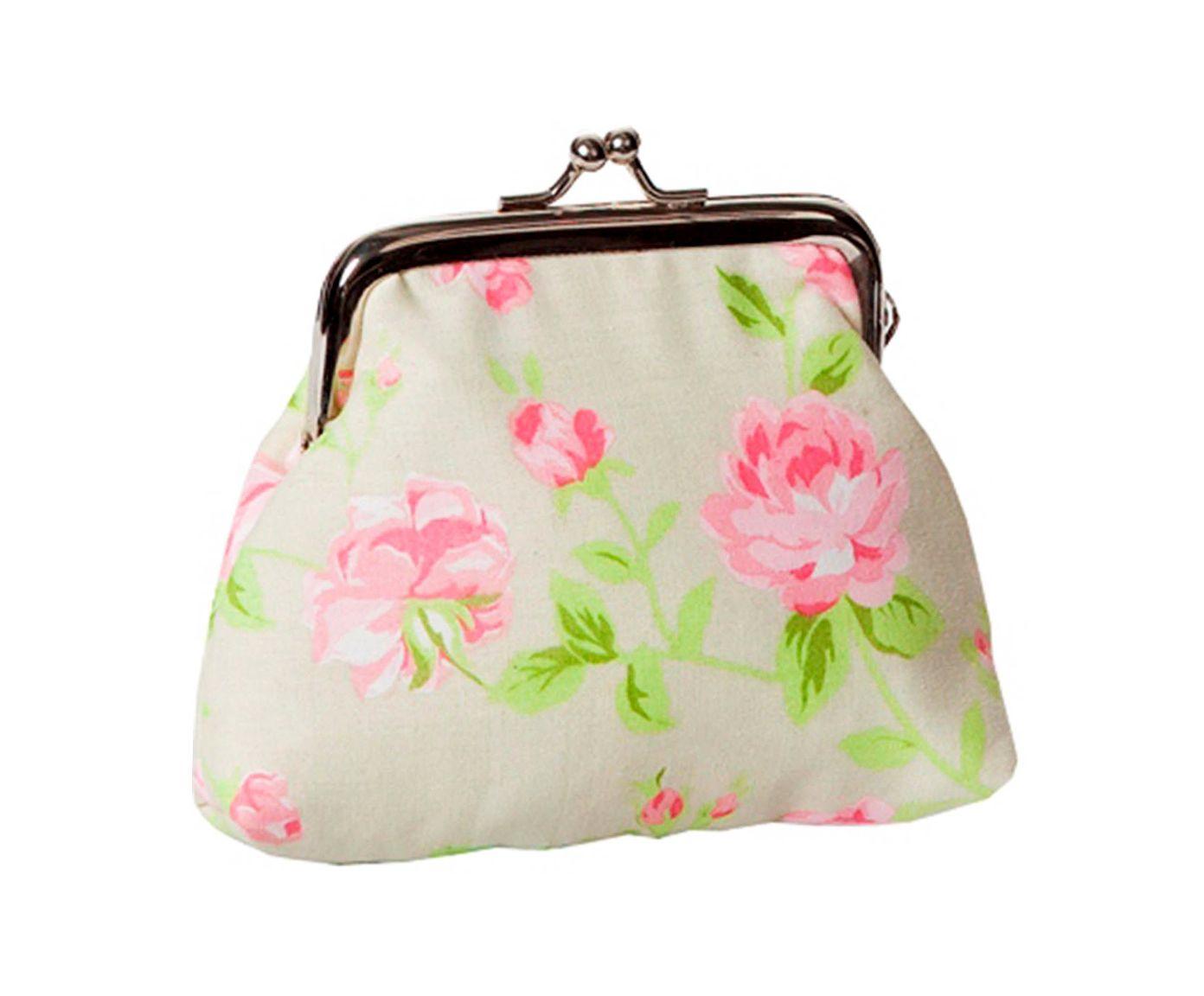 Bolsa para Moedas Romantic Flowers Verde - 20X12X2cm | Westwing.com.br