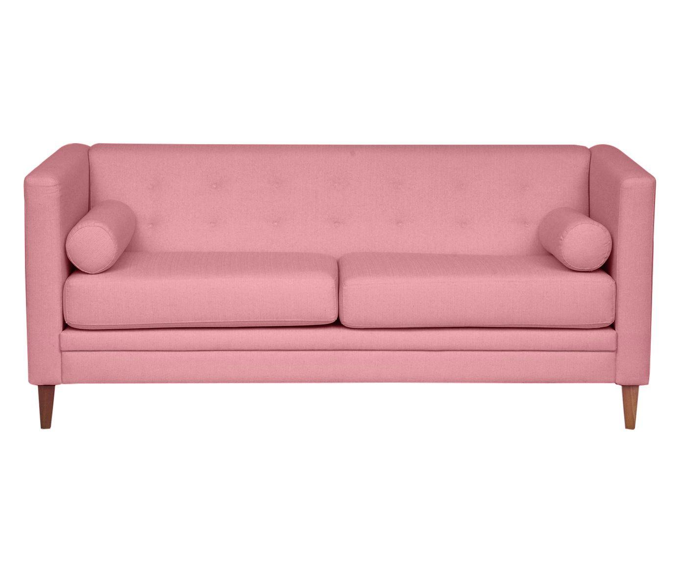 Sofá em Linho Clementine Rosa Flamingo - 180X76X83cm   Westwing.com.br