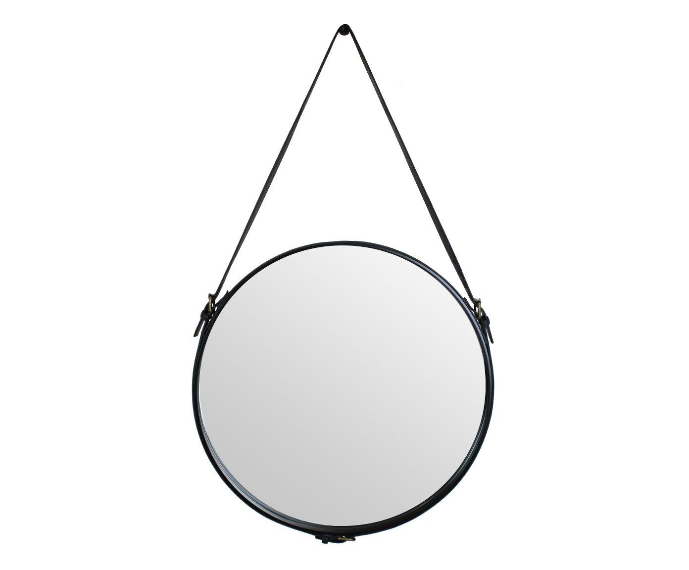 Espelho em Couro Natural Silverstone - 60cm   Westwing.com.br