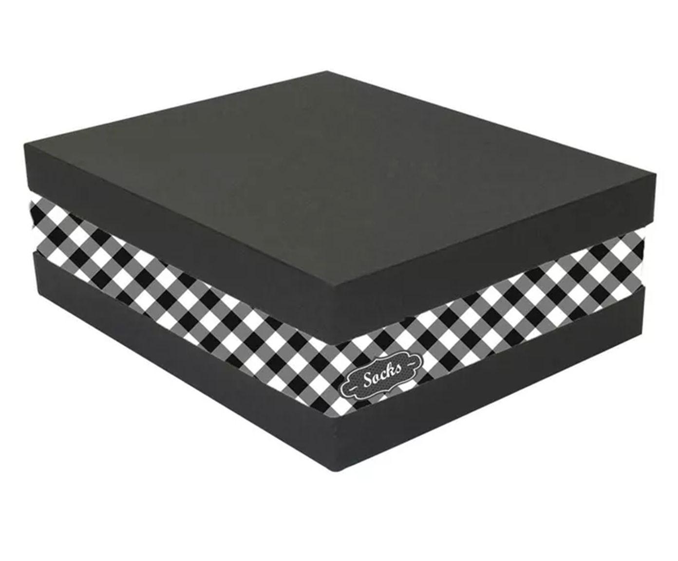 Caixa Organizadora de Meias Eve Chess Preta e Branca - 25X11X30cm   Westwing.com.br
