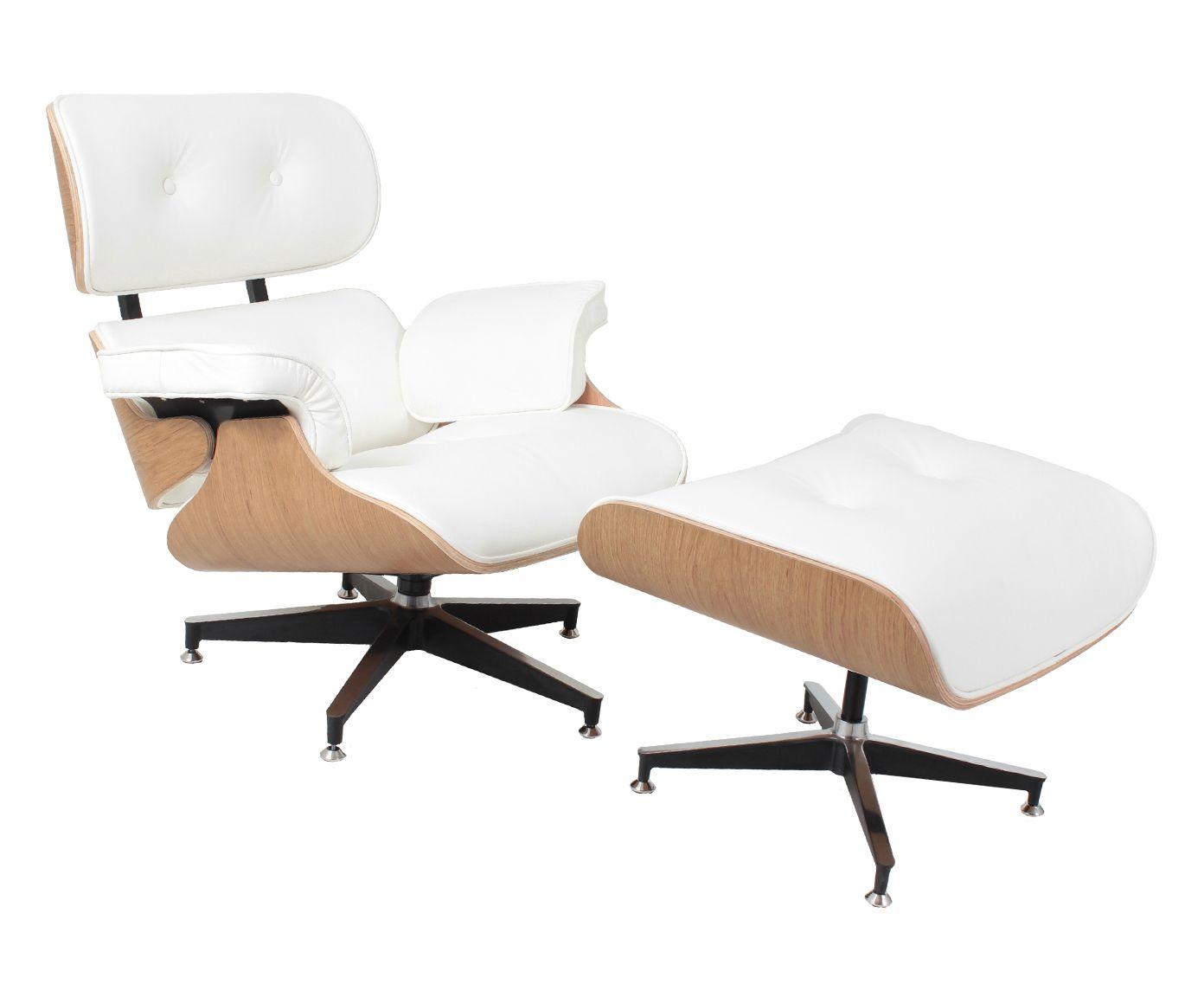 Poltrona Com Pufe em Couro Ecológico Lounge Chair - Branca e Natural   Westwing.com.br