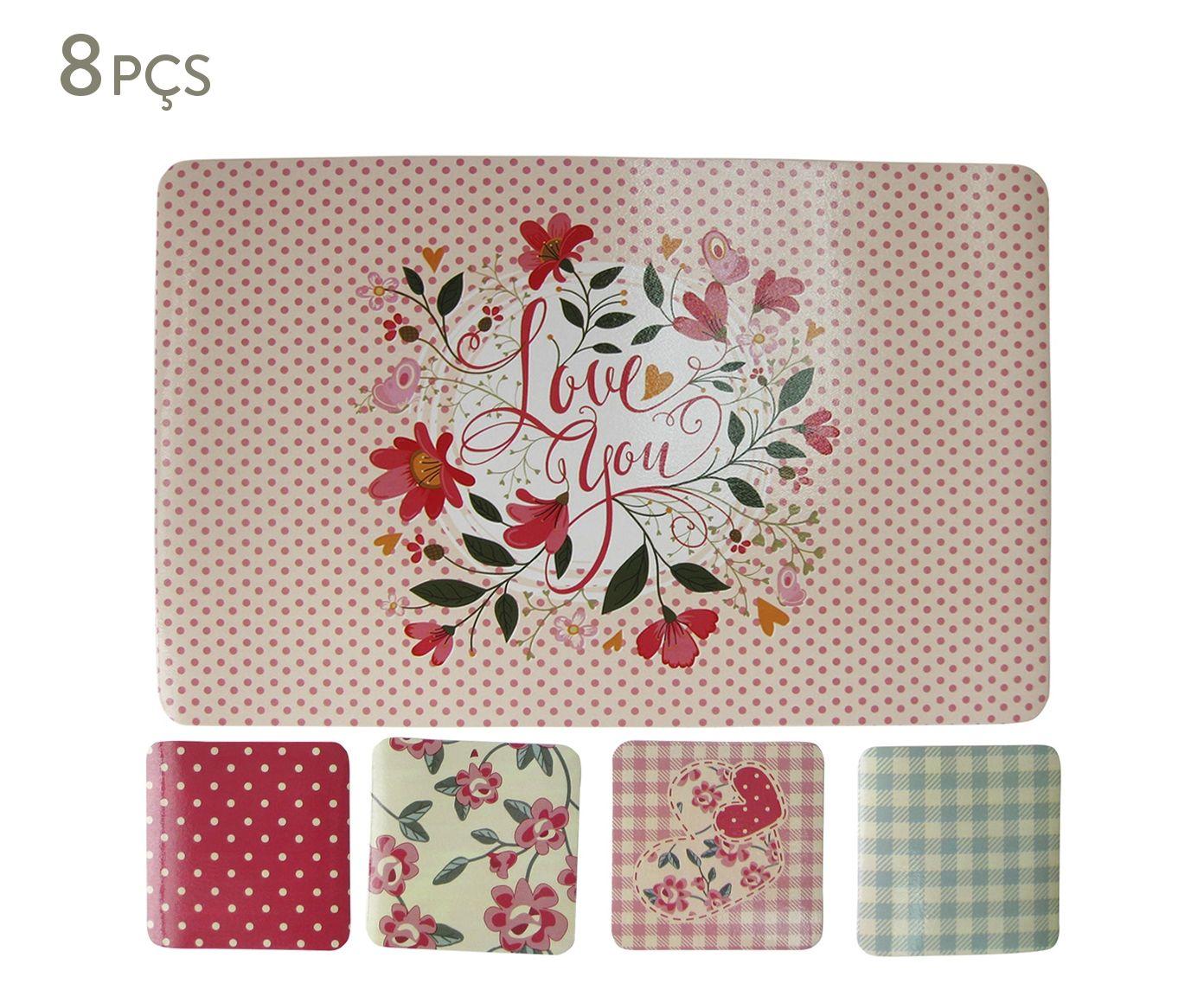 Jogo de Lugares Americanos e Porta-Copos Romance Love You | Westwing.com.br