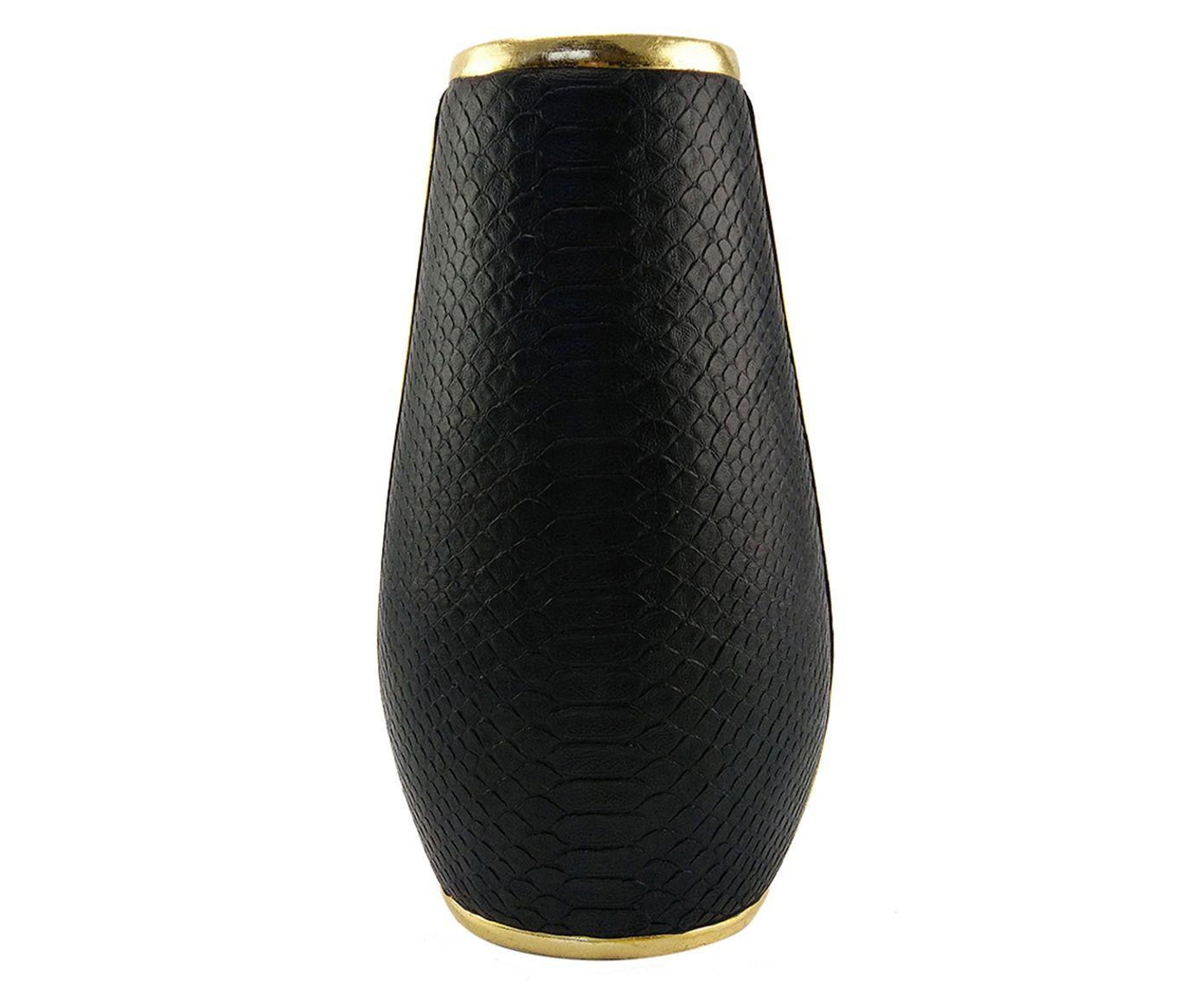 Vaso em Couro Adam Preto - 20,5X37X17,5cm   Westwing.com.br