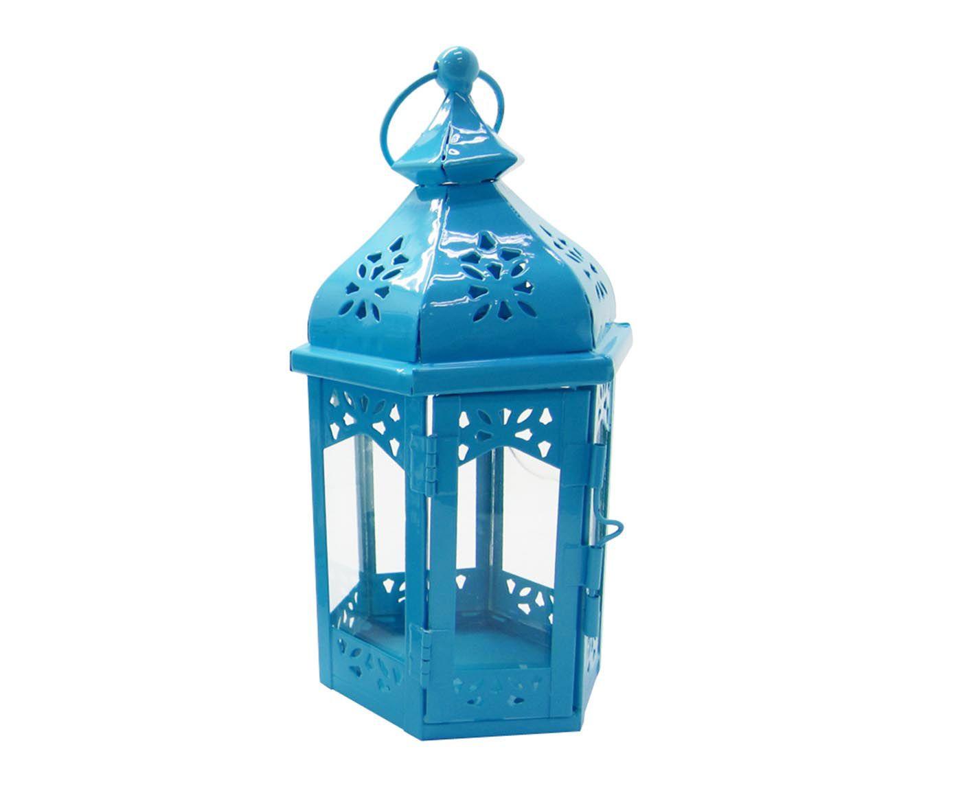 Lanterna Marroquina Hexagonal Azul - 22cm | Westwing.com.br