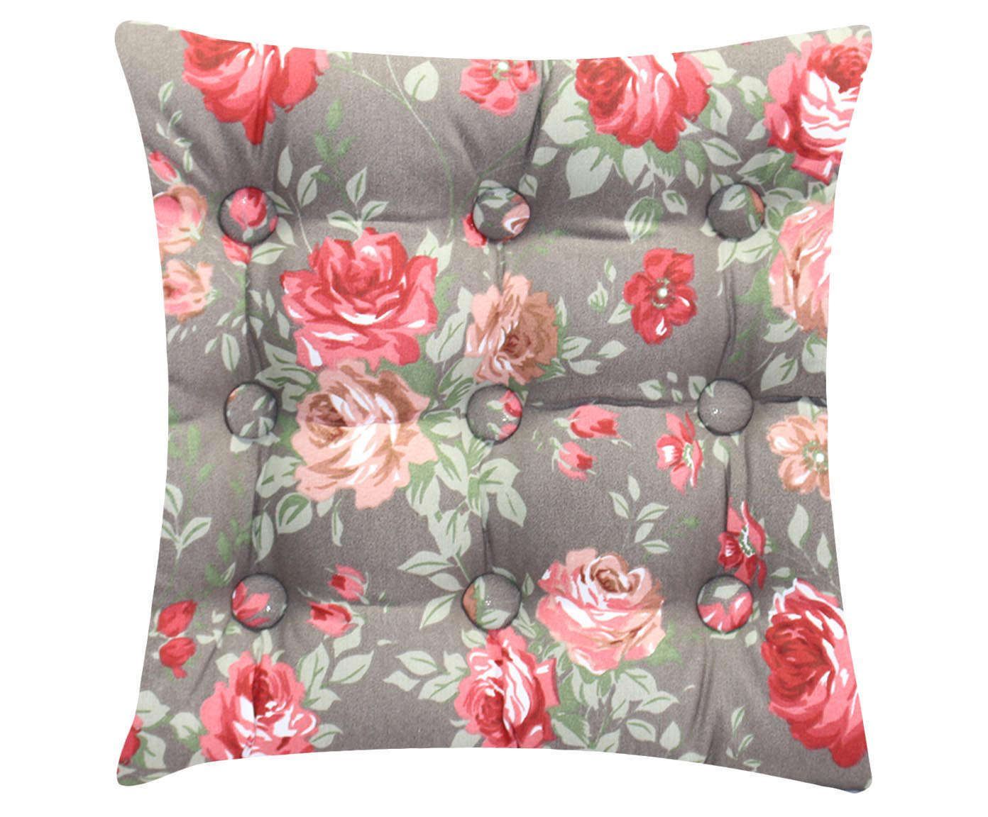 Almofada Zabuton Roses Cinza - 40x50cm | Westwing.com.br