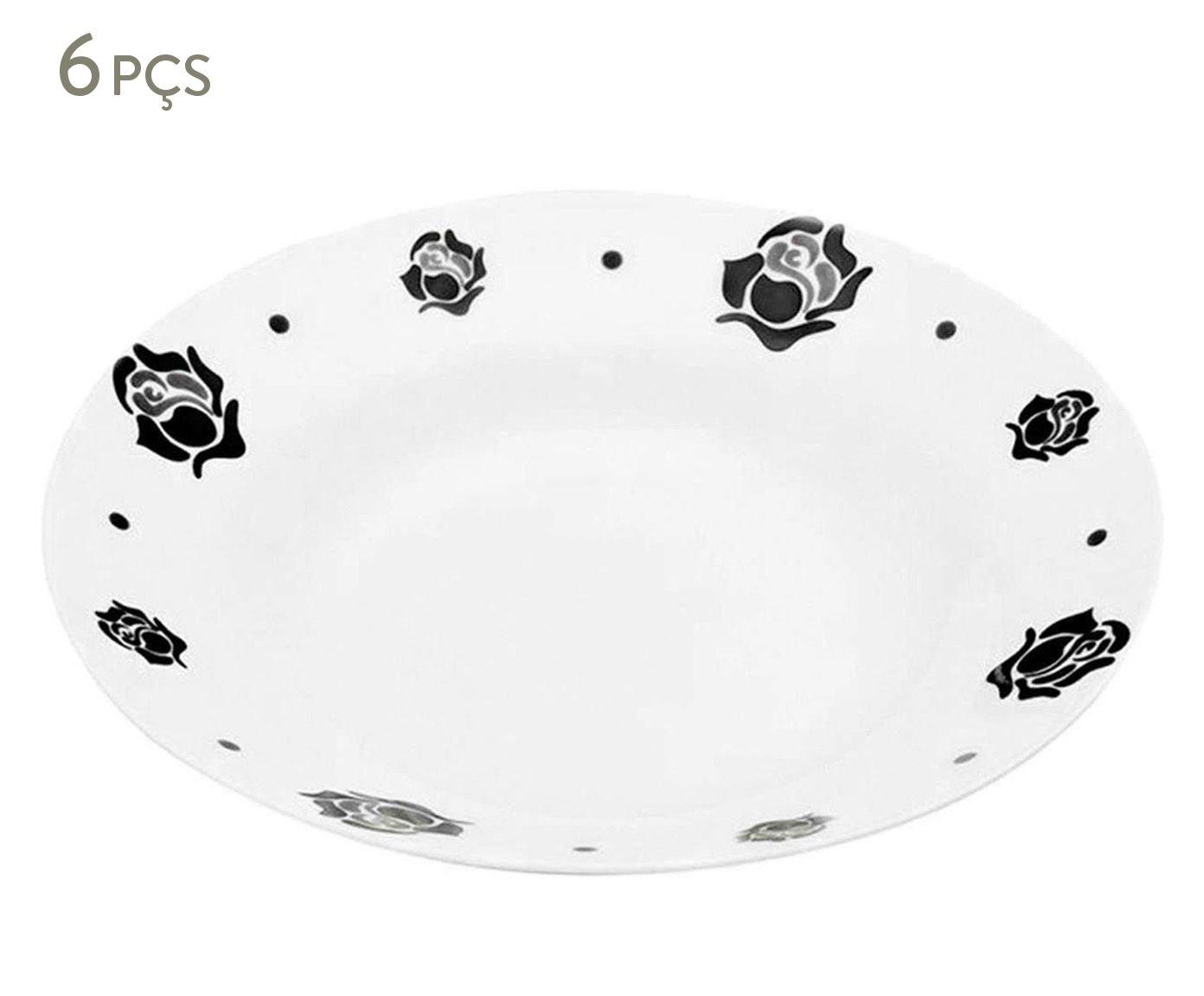 Jogo de Pratos Fundos Dark Roses - 20cm | Westwing.com.br