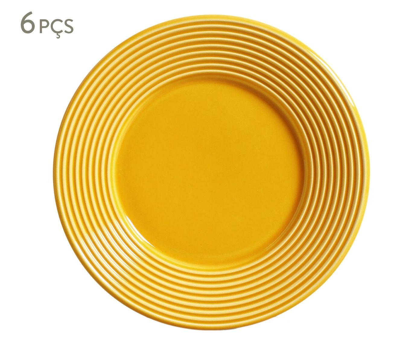 Jogo de Pratos para Sobremesa Argos Mostarda - 20,5cm | Westwing.com.br