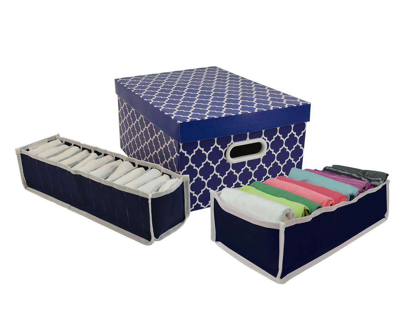 Jogo Organizador de Closet Colonial Fit Azul - 3 Peças | Westwing.com.br