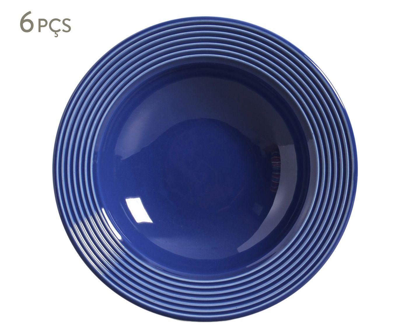 Jogo de Pratos Fundos Argos Azul Navy - 22cm | Westwing.com.br