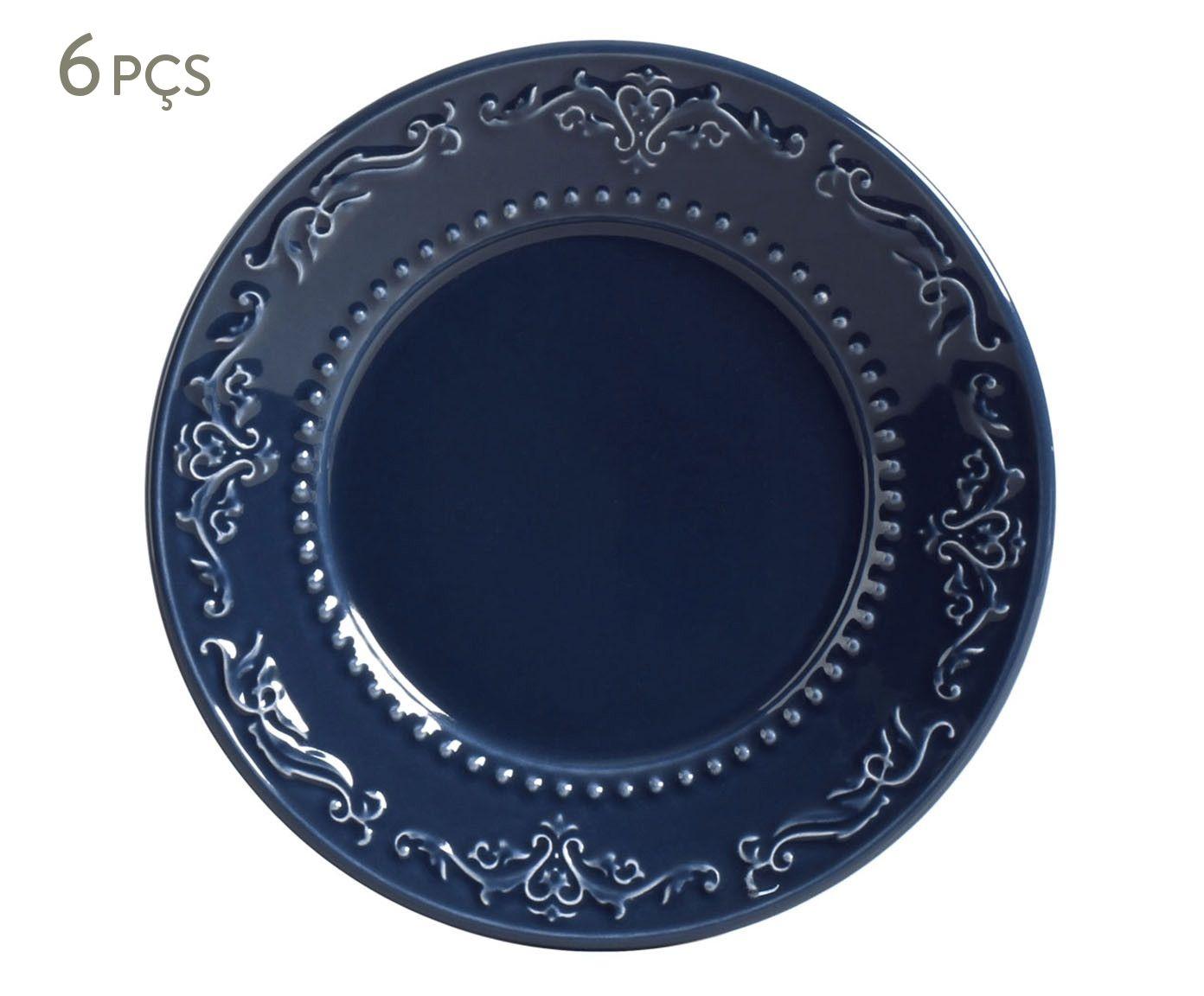 Jogo de Pratos para Sobremesa Acanthus Deep Blue - 20,5cm | Westwing.com.br