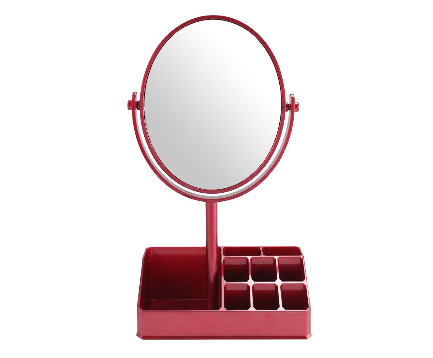 Espelho de Mesa com Divisórias Salim Vermelho - 16,5X28,8X16,5cm | Westwing.com.br