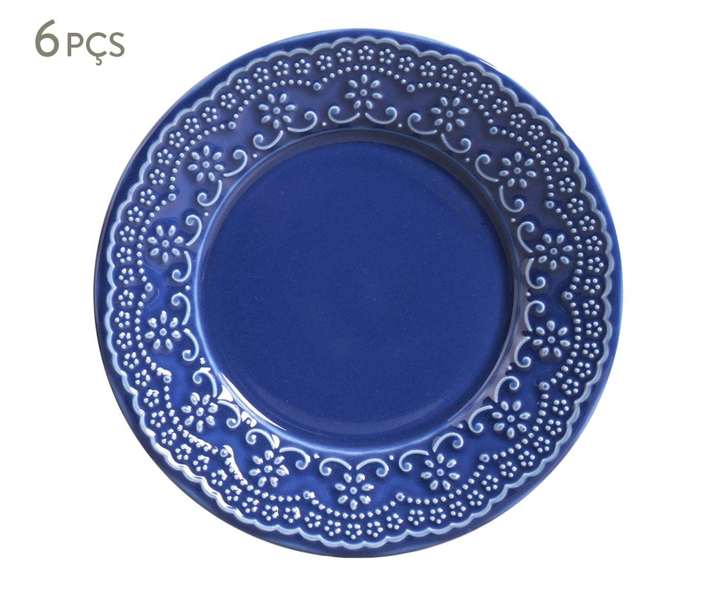 Jogo de Pratos para Sobremesa Madeleine Azul Navy - 20,5cm | Westwing.com.br
