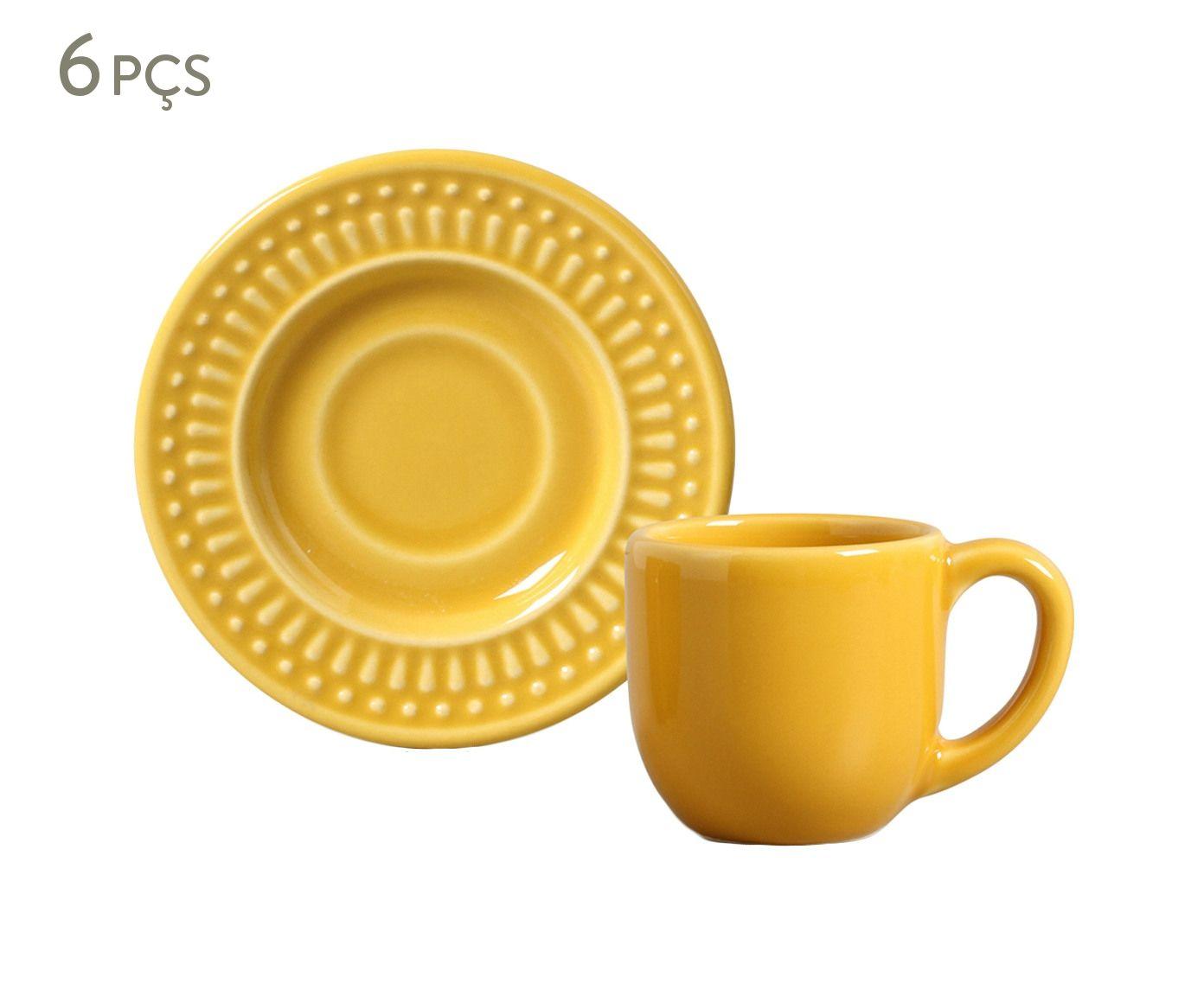 Jogo de Xícaras para Café com Pires Roma Mostarda - 75ml | Westwing.com.br