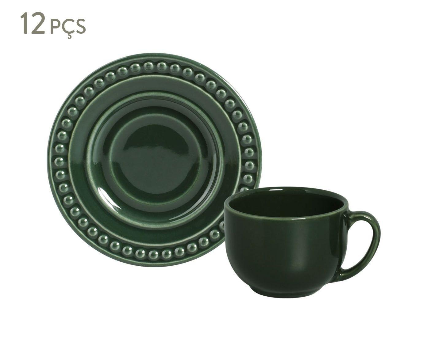 Jogo de Xícaras para Chá com Pires Atenas Botânico - 161ml | Westwing.com.br
