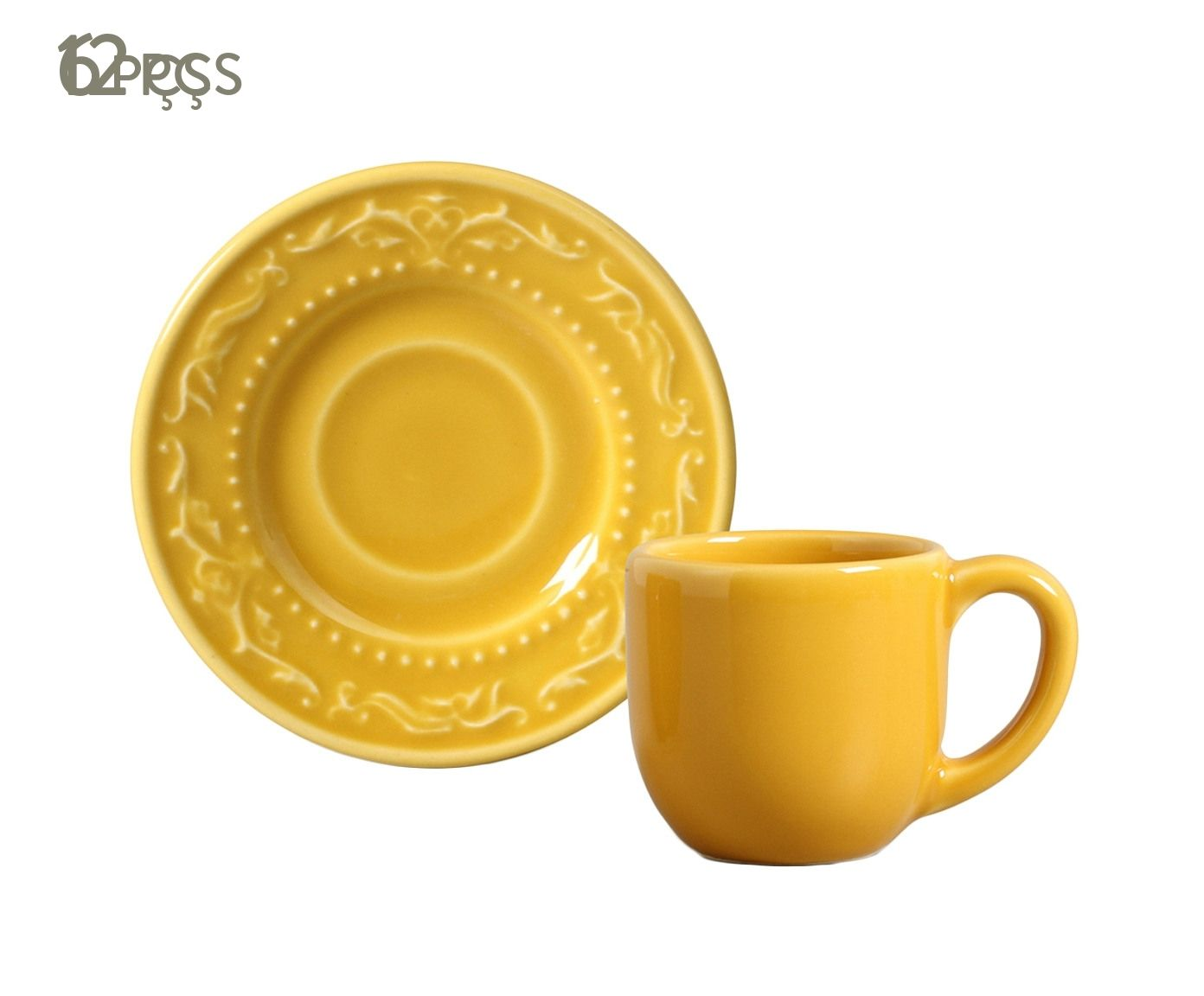 Jogo de Xícaras para Café com Pires Acanthus Mostarda - 75ml | Westwing.com.br