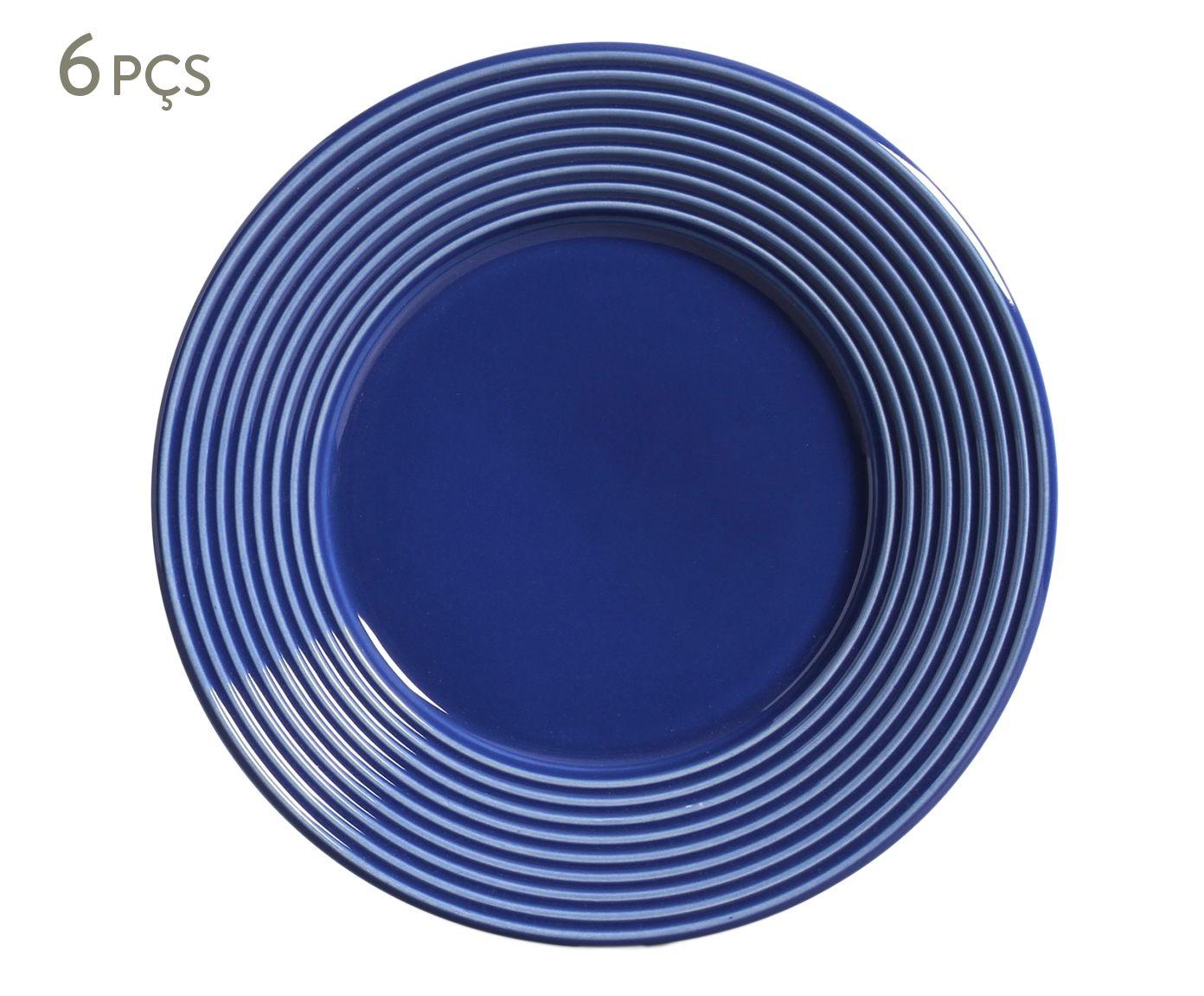 Jogo de Pratos para Sobremesa Argos Azul Navy - 20,5cm | Westwing.com.br