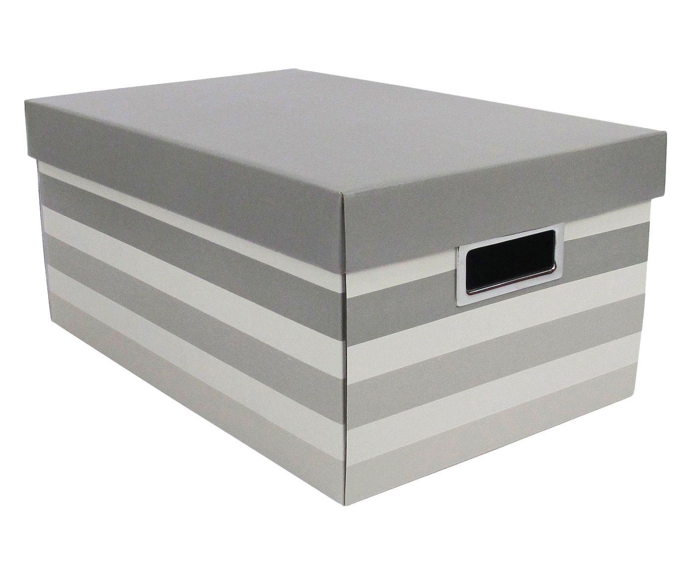 Caixa Organizadora Stripes Cinza - 46,5X29cm | Westwing.com.br