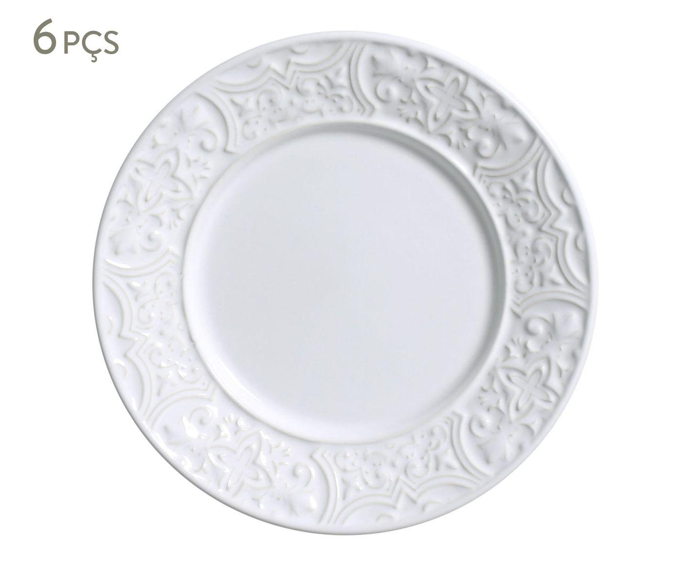 Jogo de Pratos para Sobremesa Porto Branco - 20,5cm | Westwing.com.br