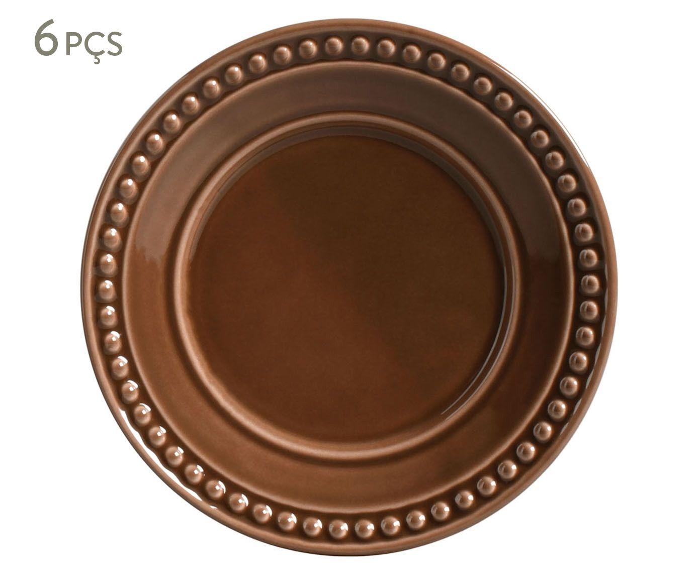 Jogo de Pratos para Sobremesa Atenas Cacau - 20,5cm   Westwing.com.br