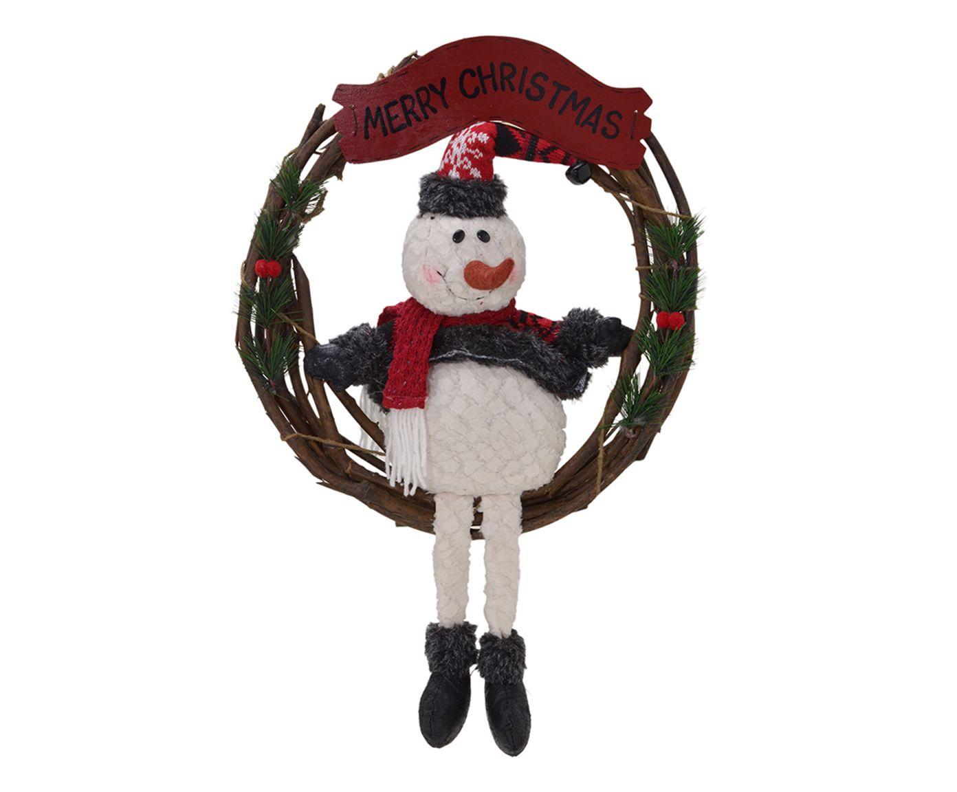 Guirlanda Merry Christmas Boneco de Neve Amalia - 31X31X6cm   Westwing.com.br